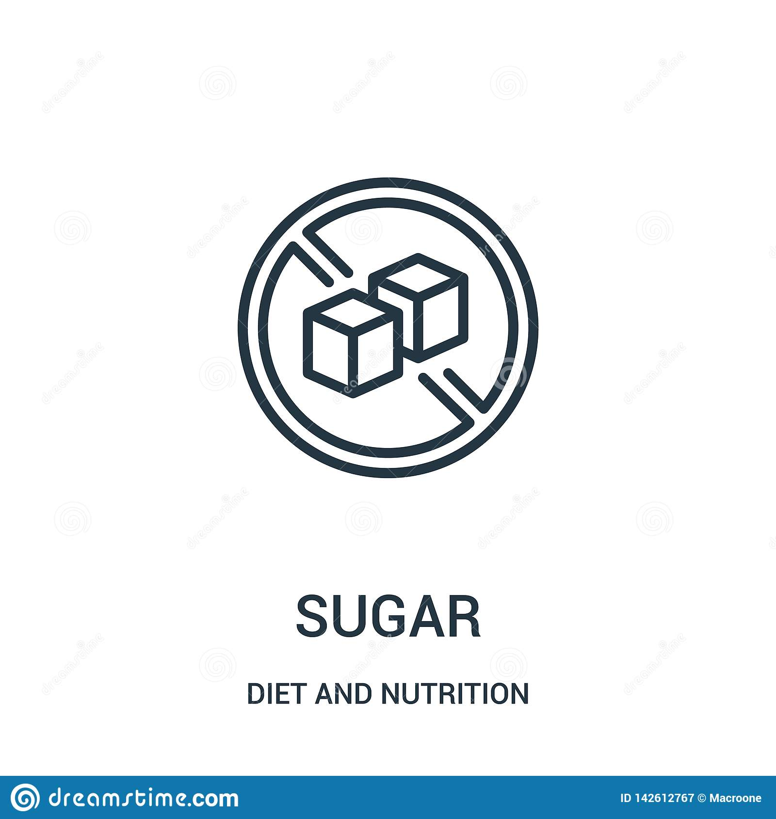sugar icon vector from diet and nutrition collection. Thin line sugar outline icon vector illustration. Linear symbol