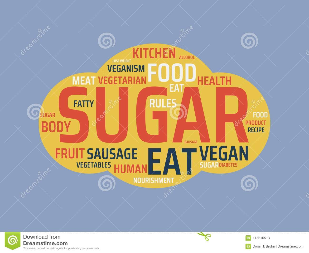 sugar image with words associated with the topic nutrition word