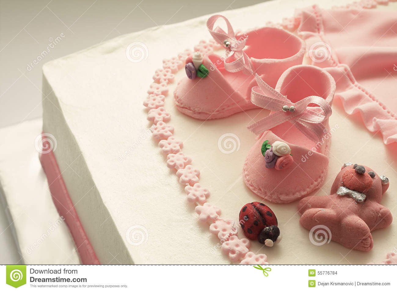 Sugar Shoes On Birthday Cake Stock Photo Image Of Dairy Girl