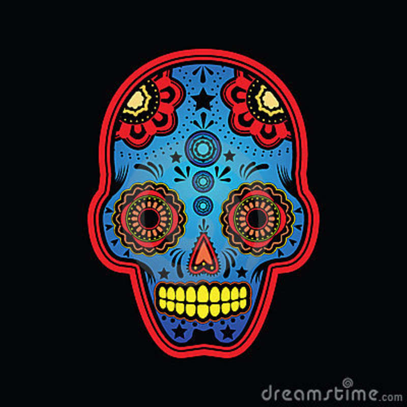 Sugar Skull Colored Version Stock Vector - Illustration of ...