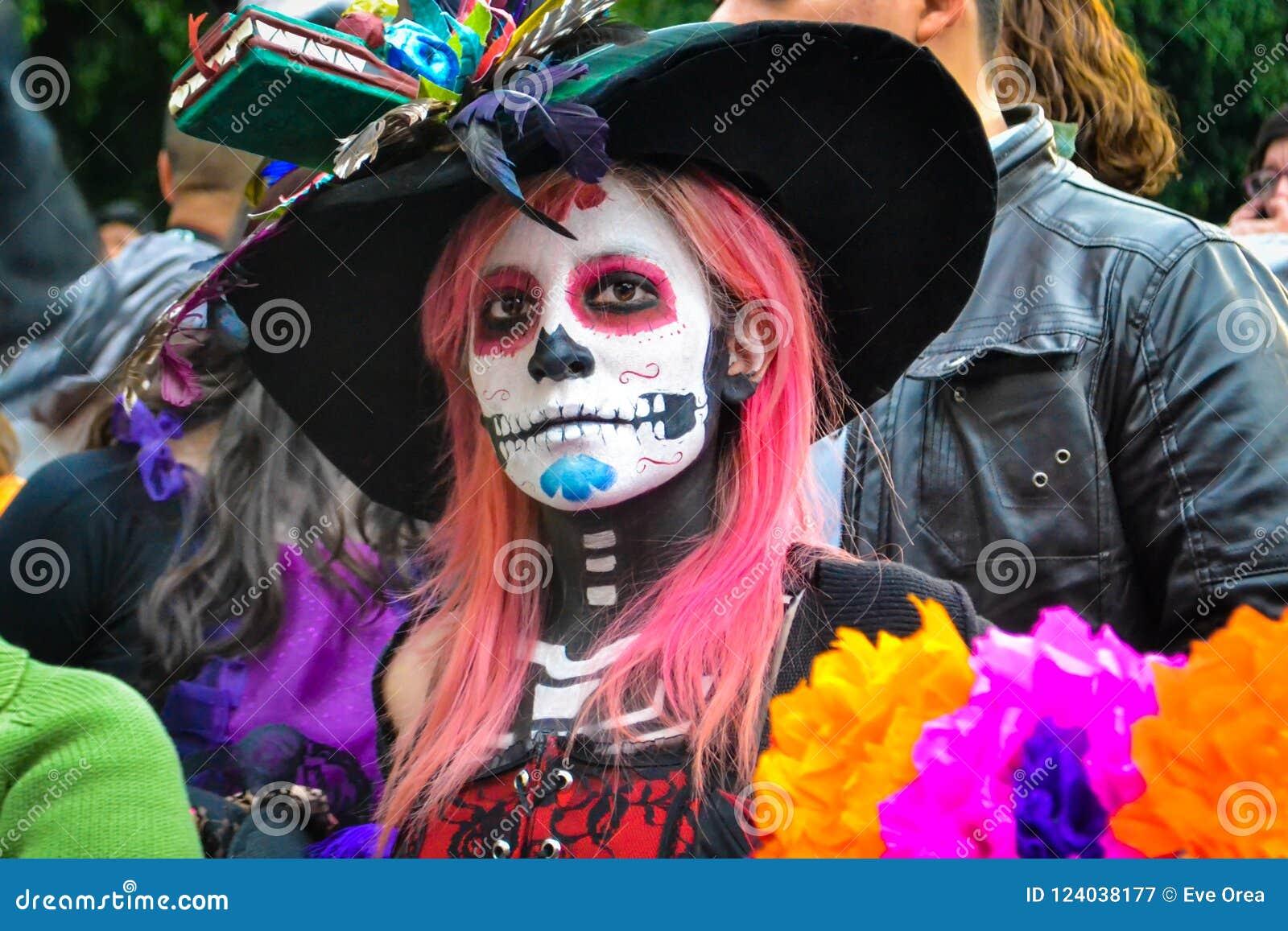 Mexico City, Mexico, ; November 1 2015: Sugar skull girl at the Day of the Dead celebration in Mexico City