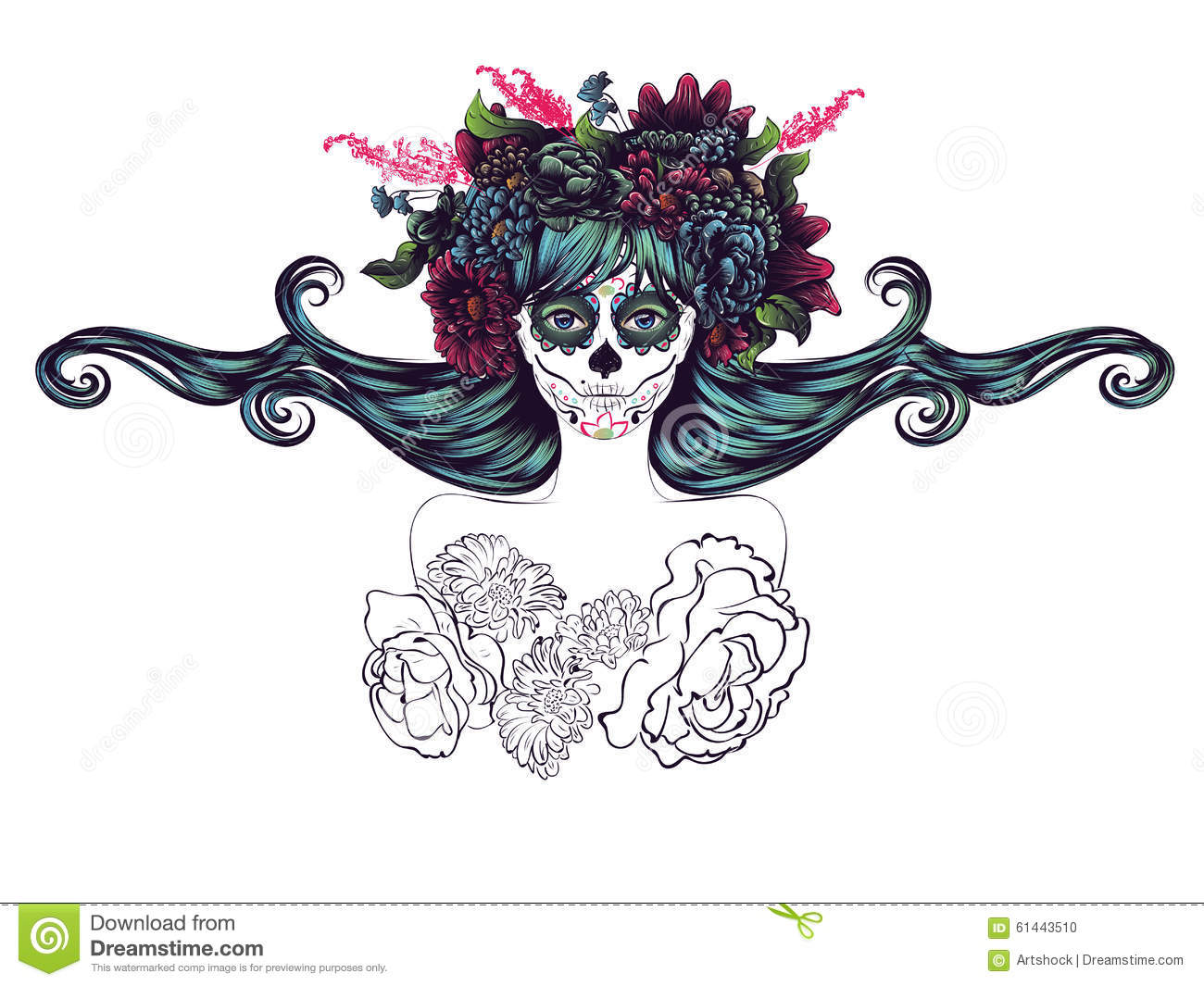 a1cf274f1 Day of the Dead illustration with sugar skull girl in decorative flower  wreath.