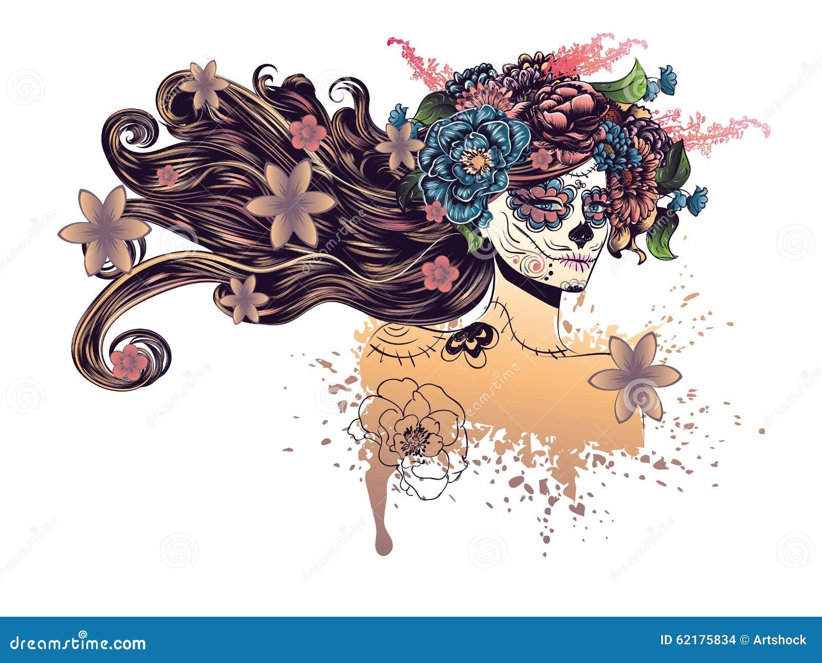 Sugar Skull Girl In Flower Crown Stock Vector Illustration Of