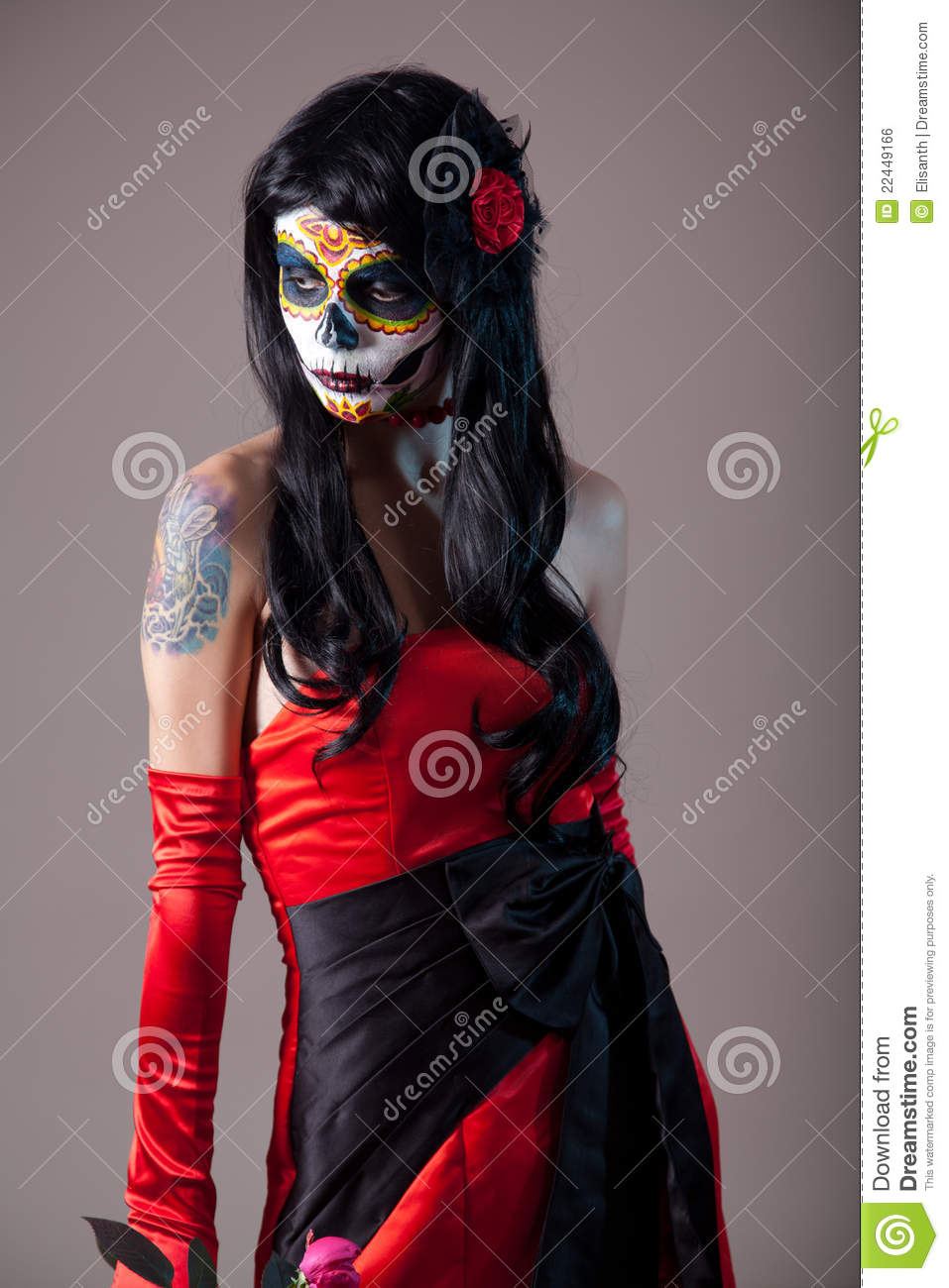 Sugar Skull Girl In Red Evening Dress Stock Photo Image