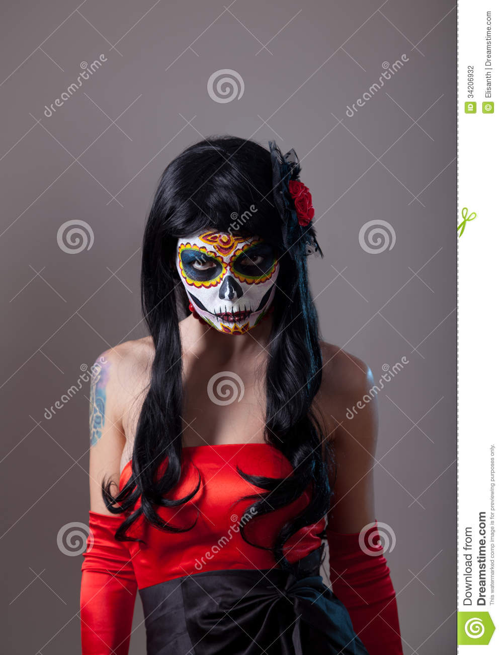 Sugar Skull Girl With Red Rose Stock Photo Image 34206932