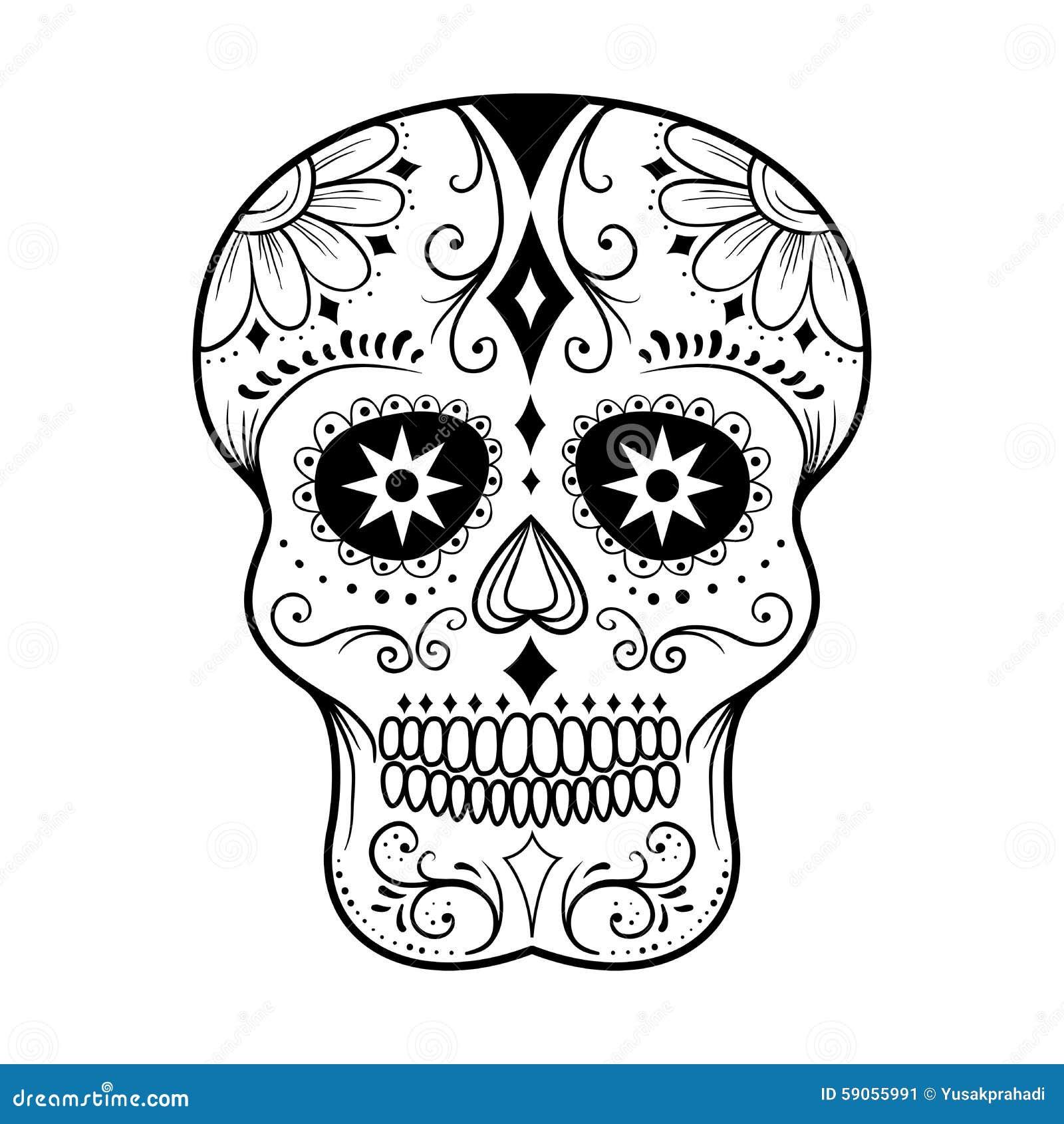 Line Art Photo : Sugar skull line art vektor illustrationer bild