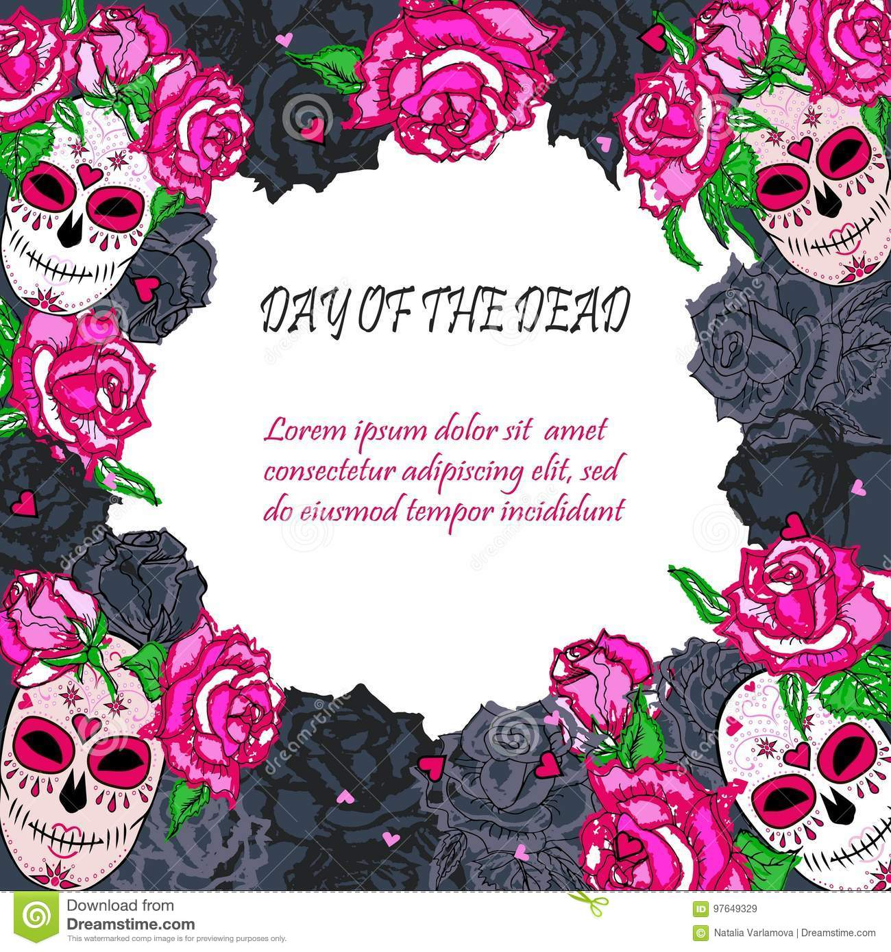 Sugar Skull With Pink Roses Template Stock Illustration