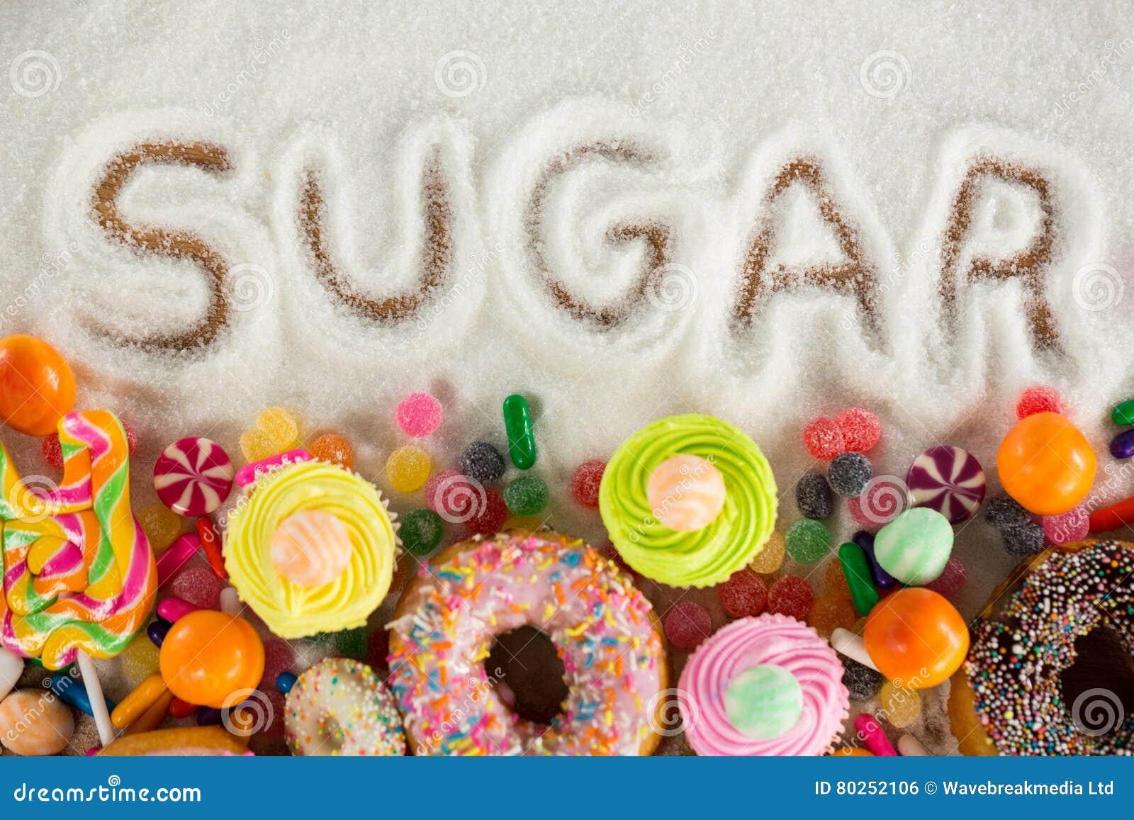 Sugar written on sugar powder