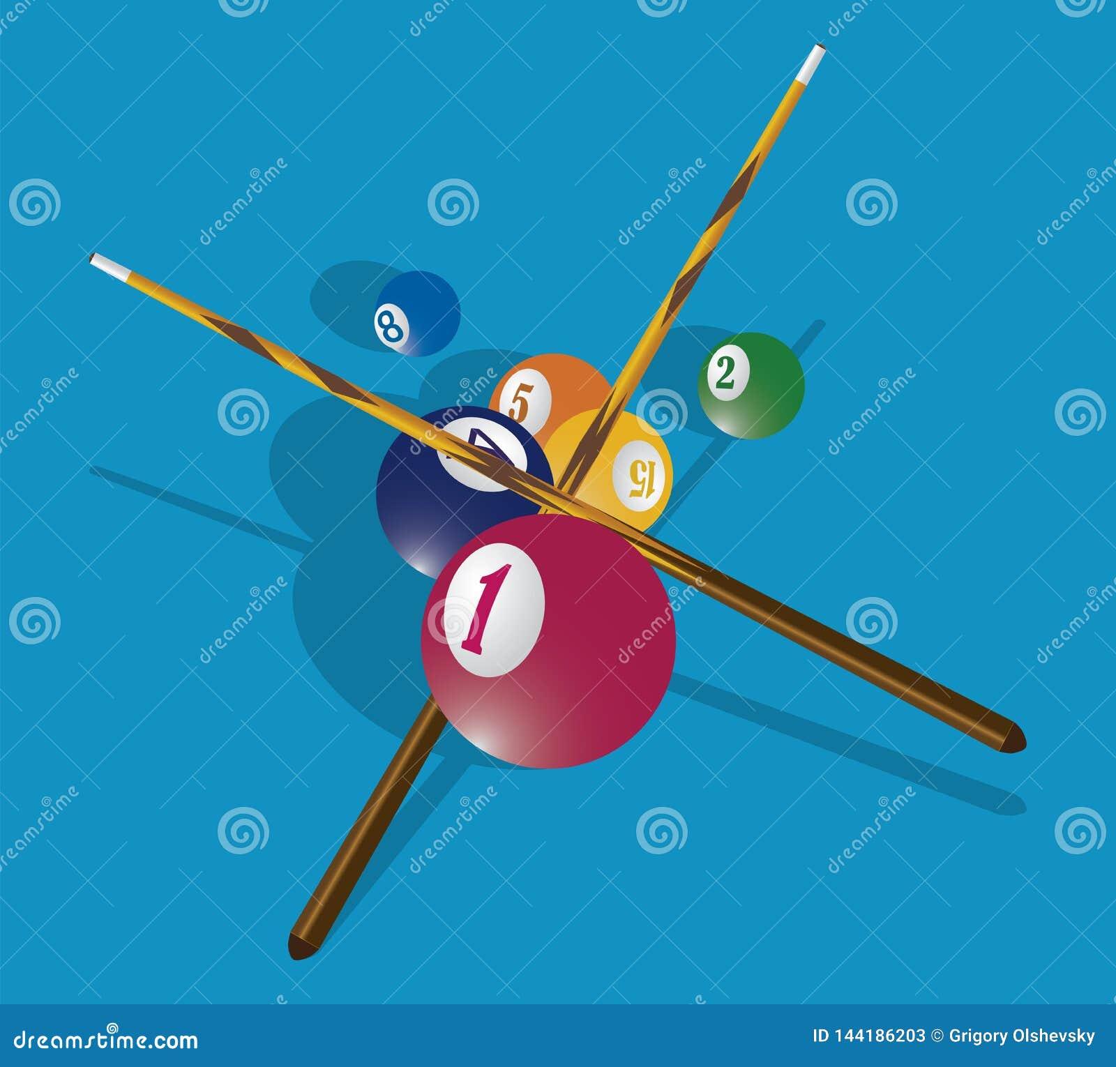Sugestão do bilhar e bolas de associação na tabela verde