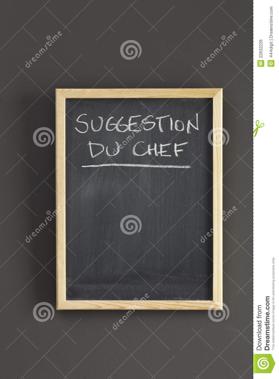 suggestion du chef sur le tableau noir photo stock image du suggestion aujourd 22632226. Black Bedroom Furniture Sets. Home Design Ideas