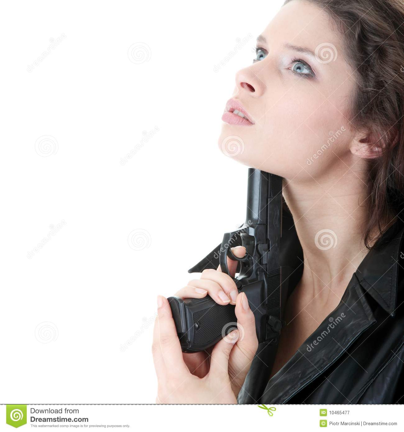 Suicide Girl With Gun Isolated Royalty Free Stock