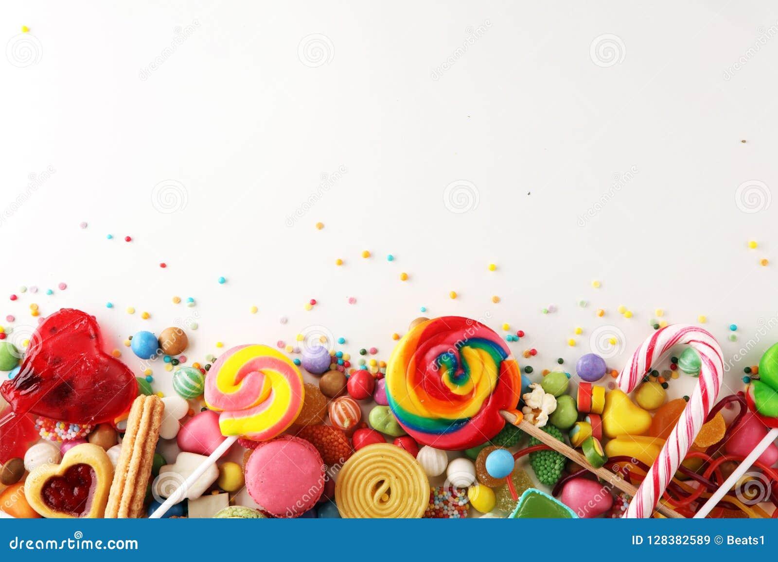 Suikergoed met gelei en suiker kleurrijke serie van verschillende childs