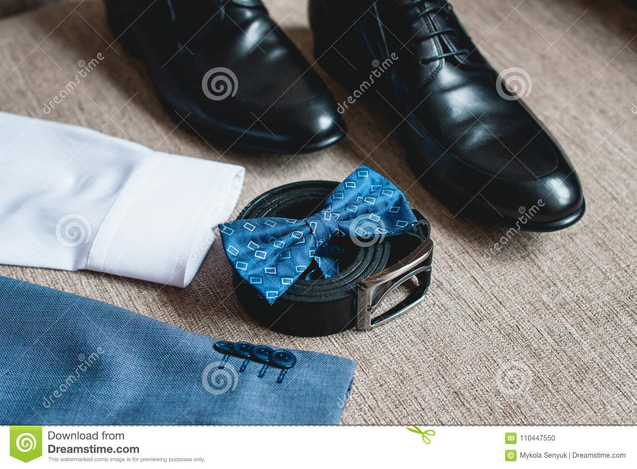 Suit, Blue Bow Tie, Leather Black Shoes And Belt. Grooms Wedding ...