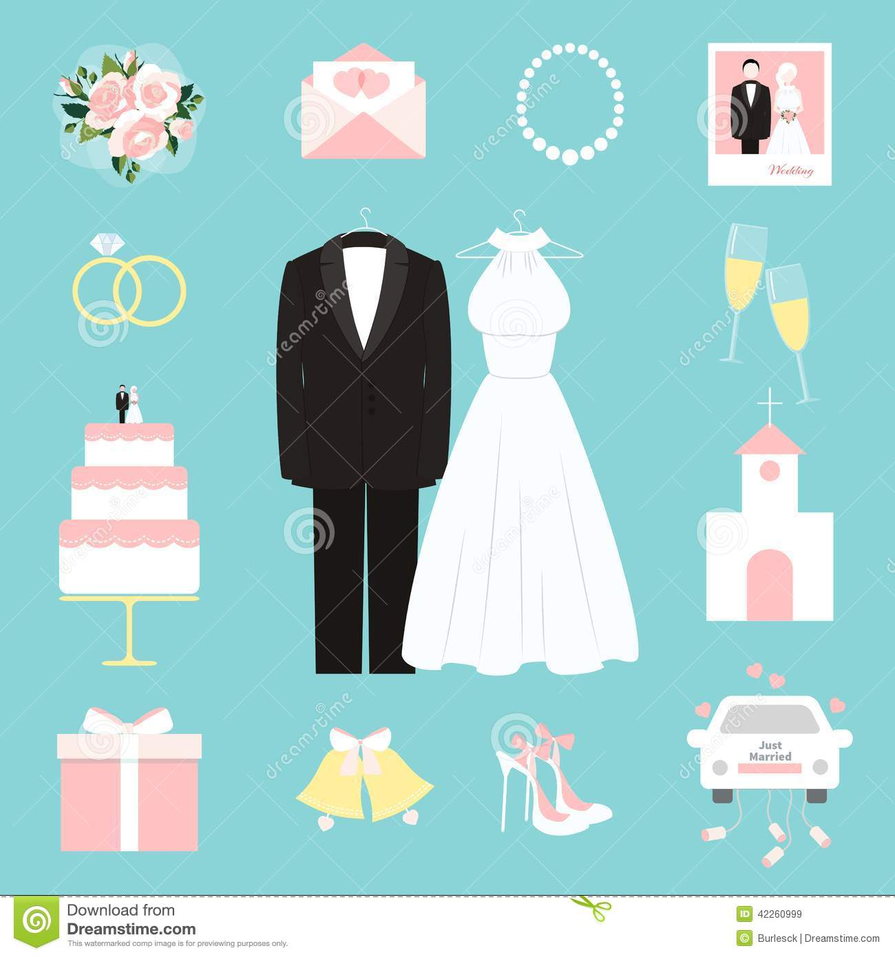 Suit And Gown Surrounded By Wedding Icons Stock Vector ...