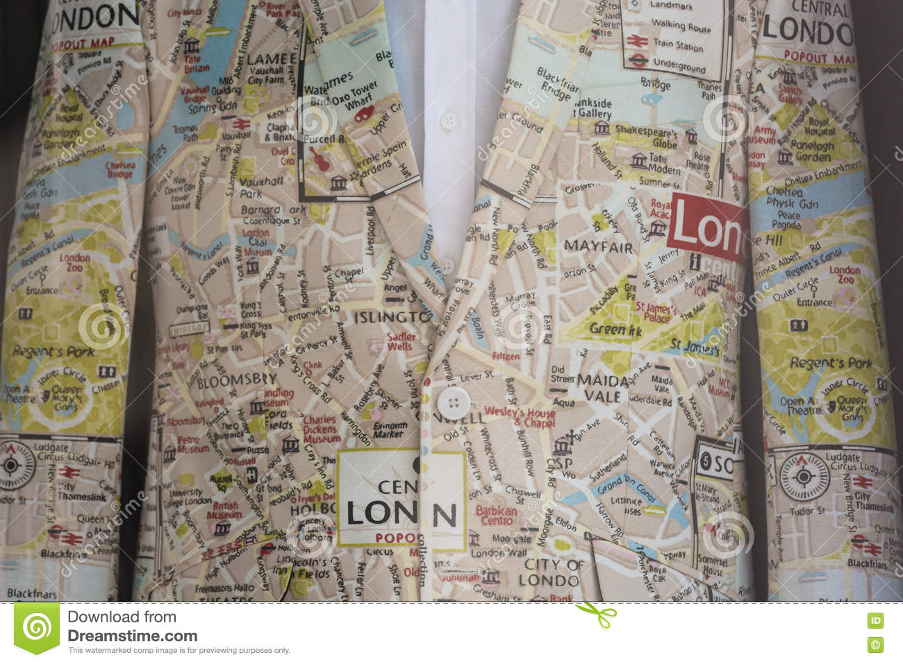 A suit made out of a print of london city map stock image image of royalty free stock photo gumiabroncs Images