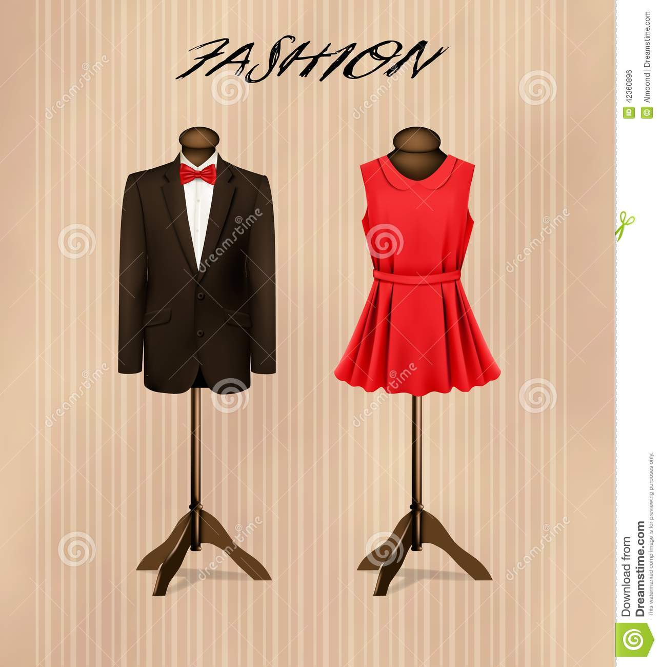 A Suit And A Retro Formal Dress On Mannequins. Stock Vector ...