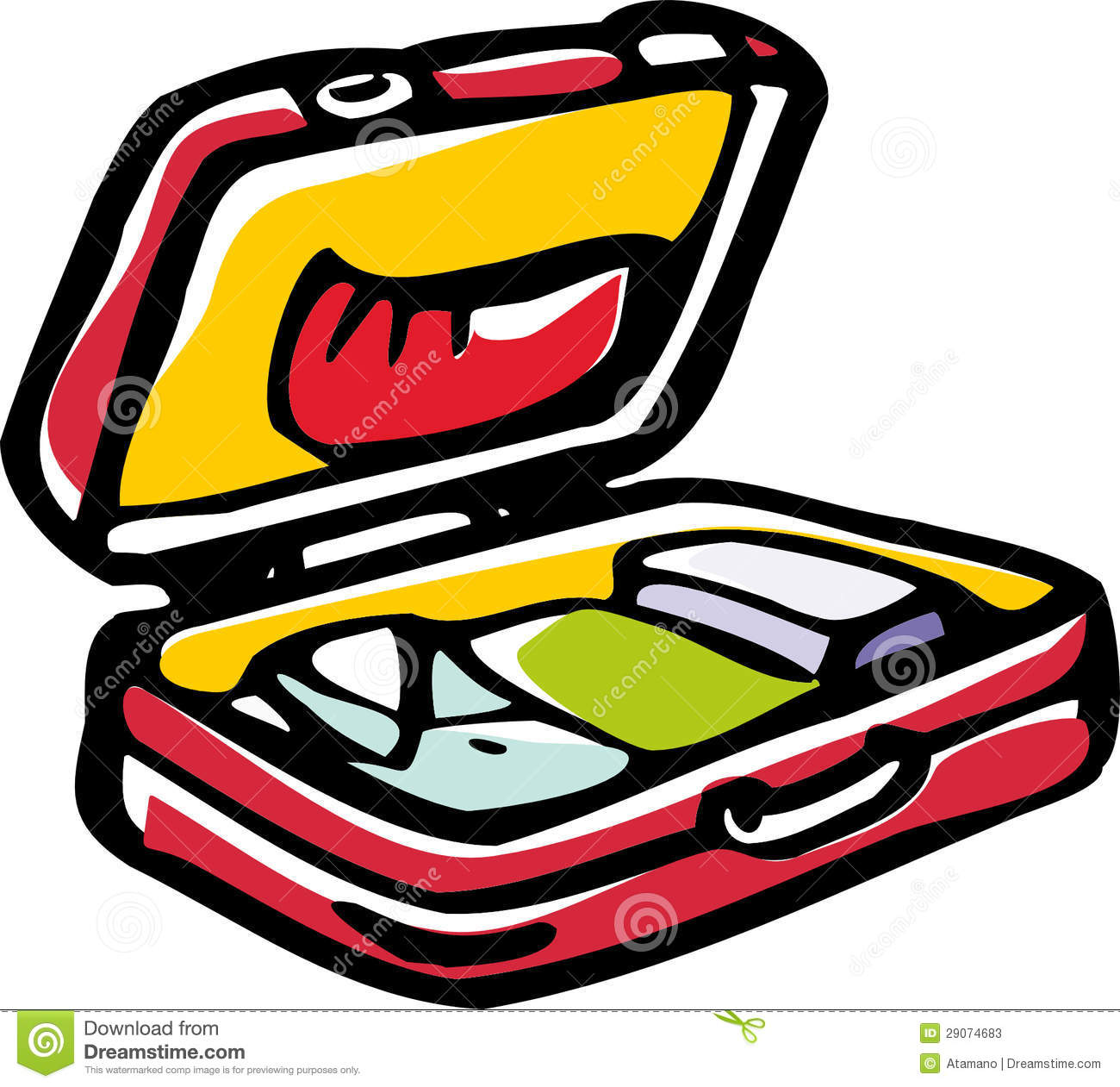 Stylized vector image of open suitcase with clothes.