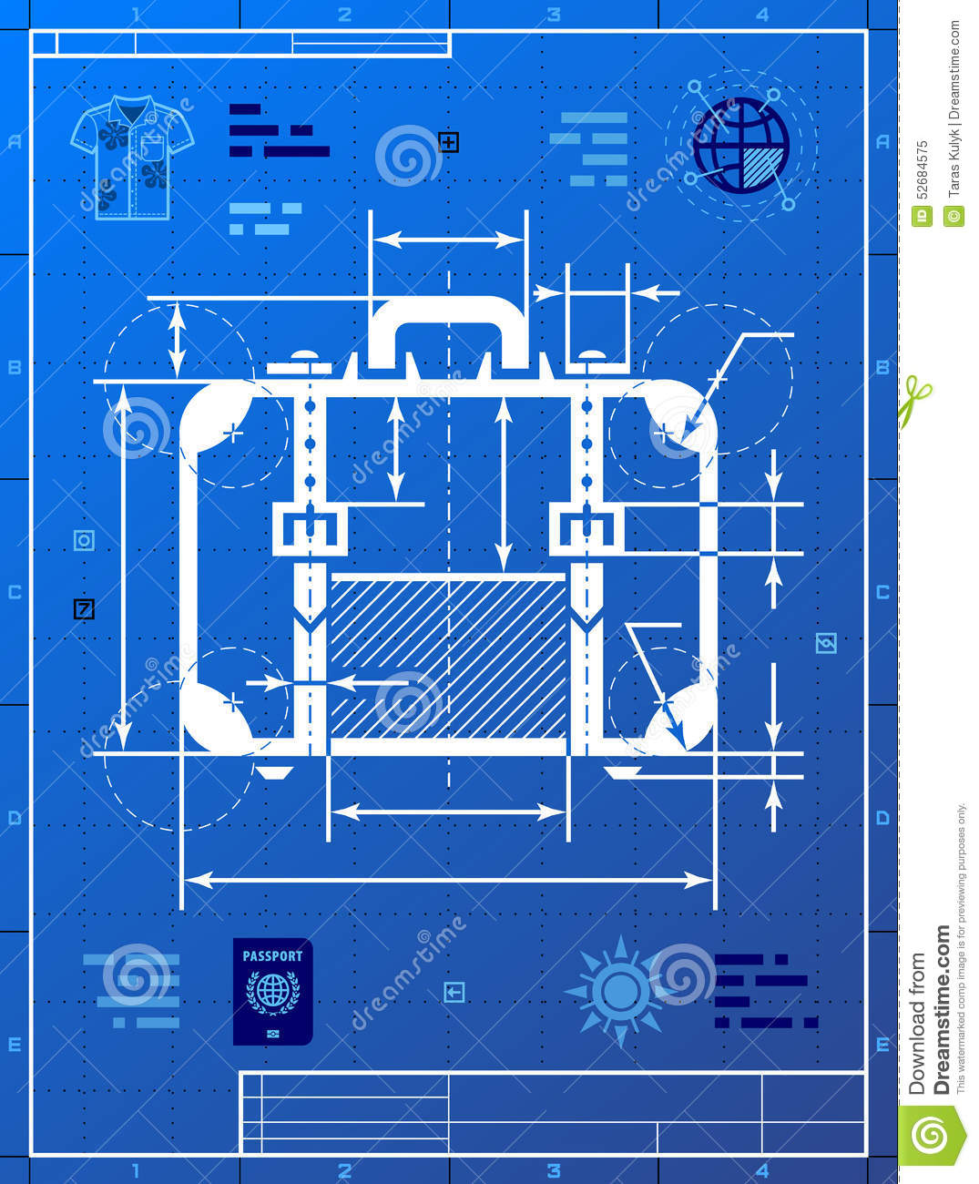 Suitcase As Blueprint Drawing Stock Vector Image 52684575