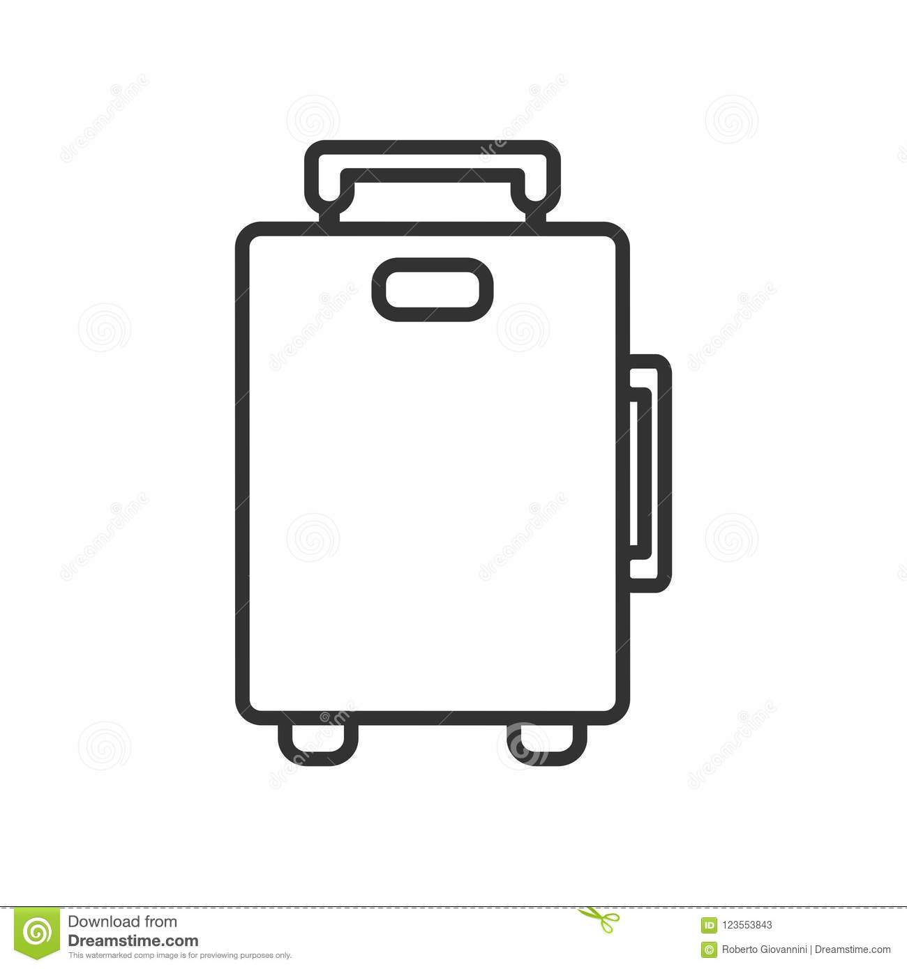 Suitcase Bag Outline Flat Icon On White Stock Vector