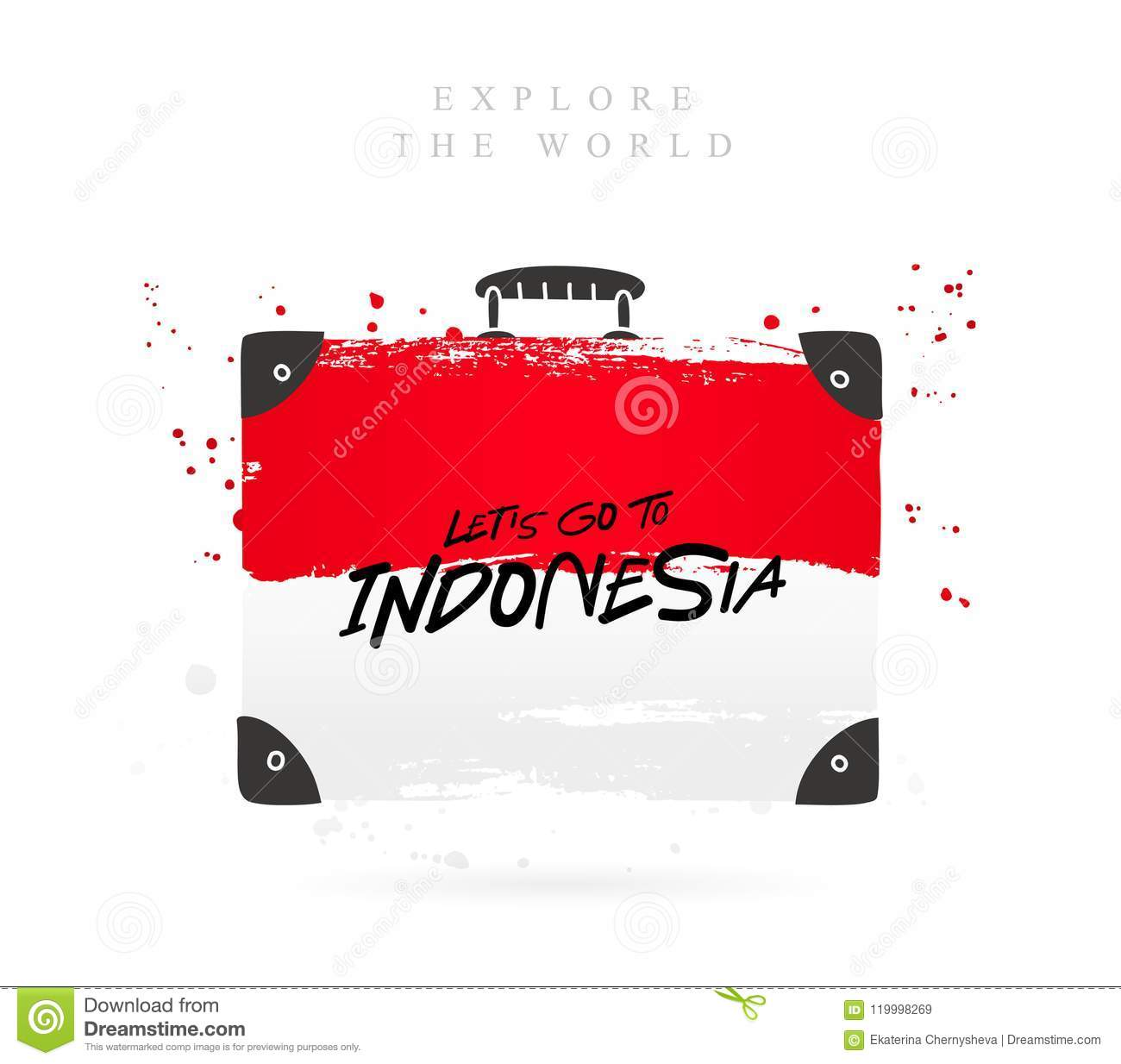 Suitcase With The Flag Of Indonesia  Lettering Stock Vector