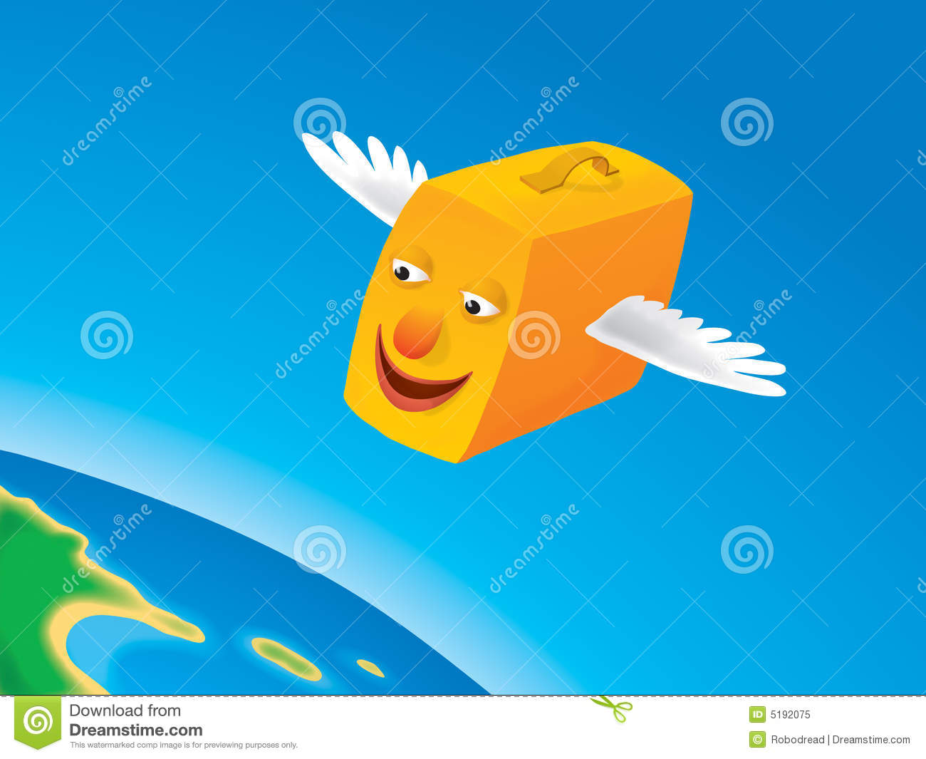 Suitcase flying (vector)