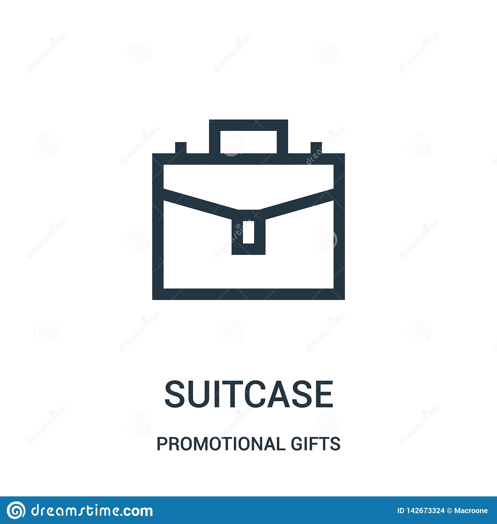 suitcase icon vector from promotional gifts collection. Thin line suitcase outline icon vector illustration. Linear symbol for use