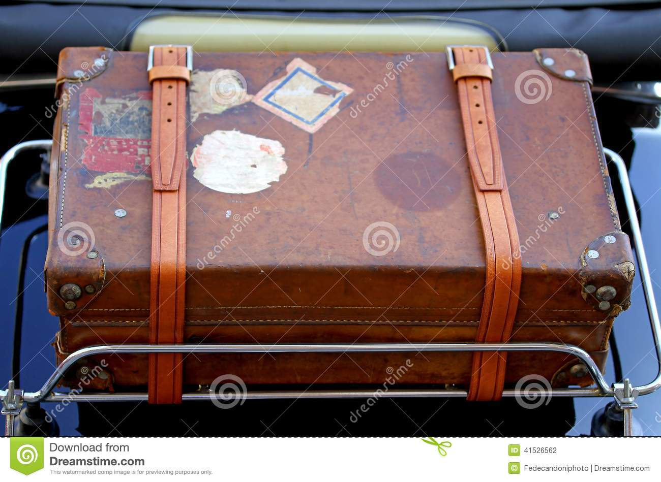 Suitcase In The Luggage Rack Of Vintage Car Before A Trip Around ...
