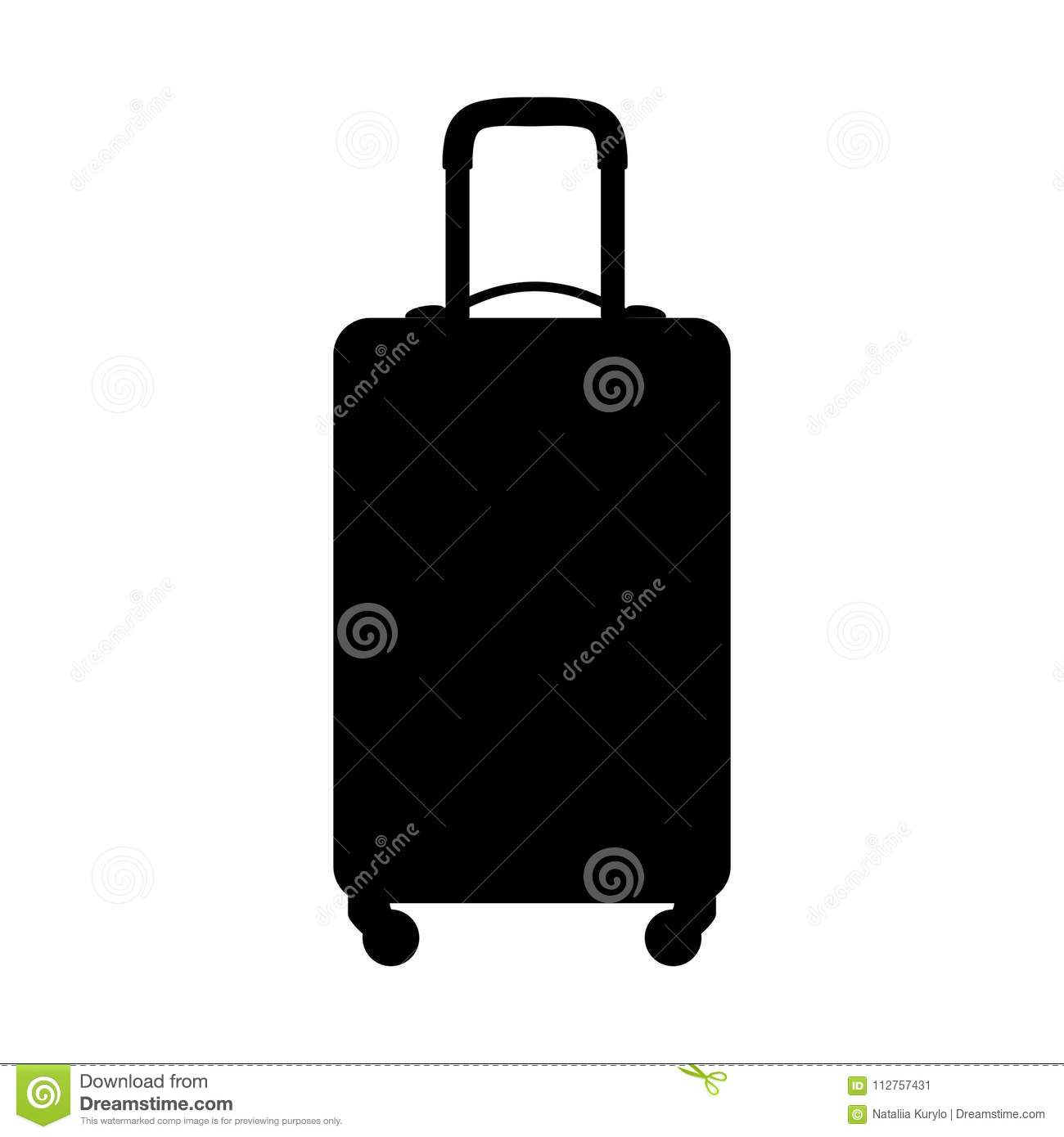 Suitcase silhouette, on white background. Vector icon.