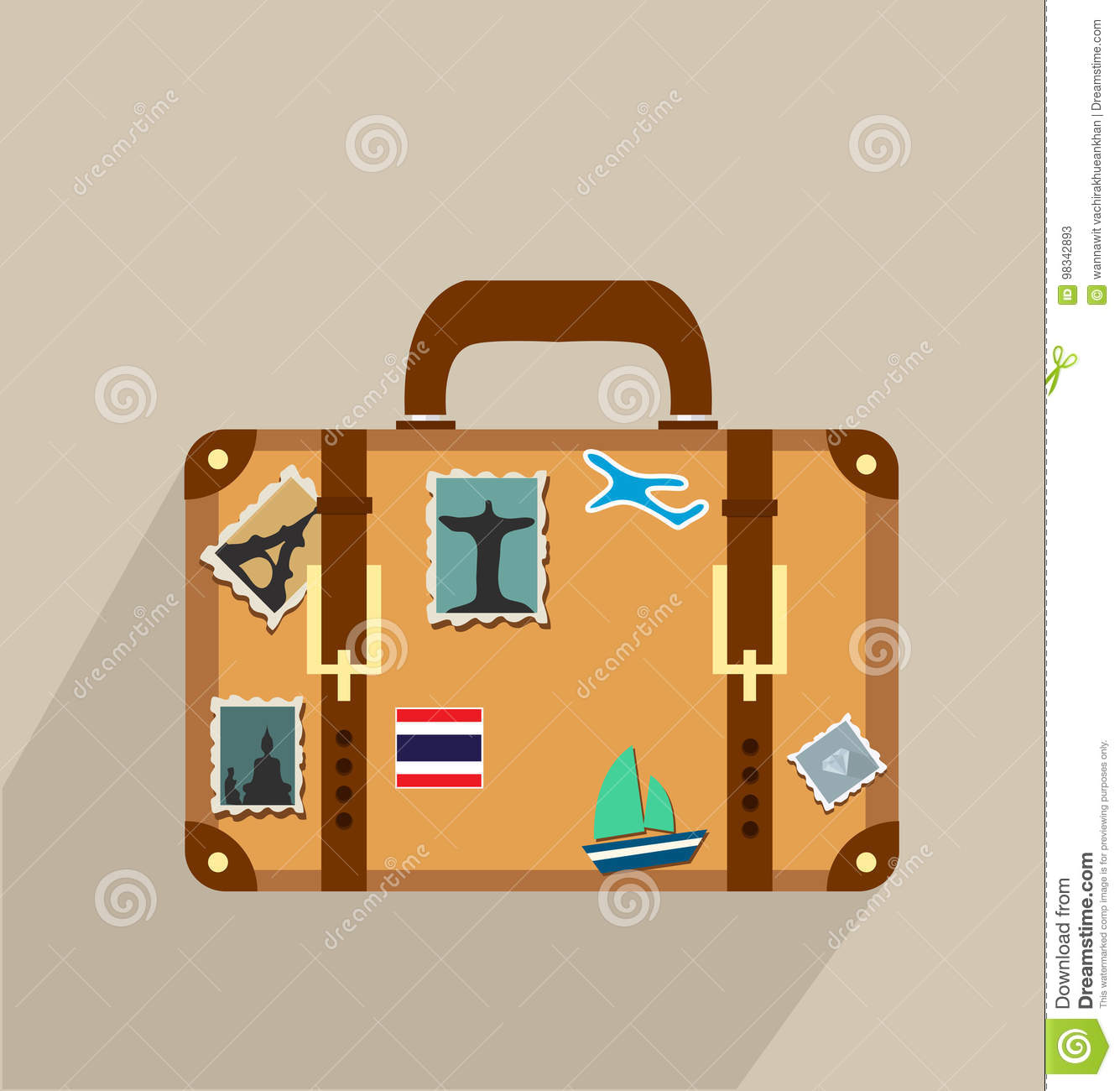 suitcase with stickers icon stock vector illustration of baggage