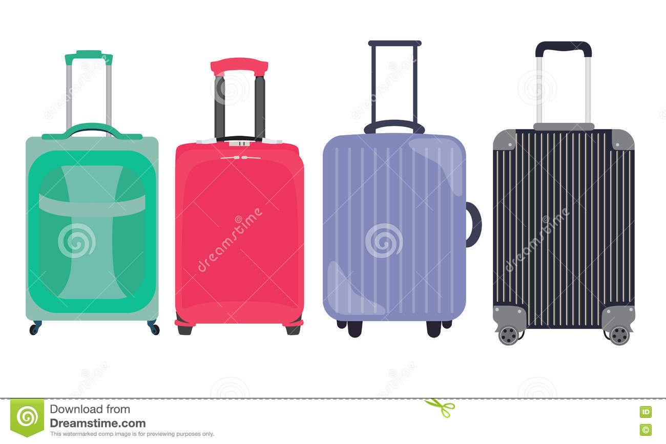 Suitcase, Travel Bag Flat Icon Set Collection. Vector Illustration