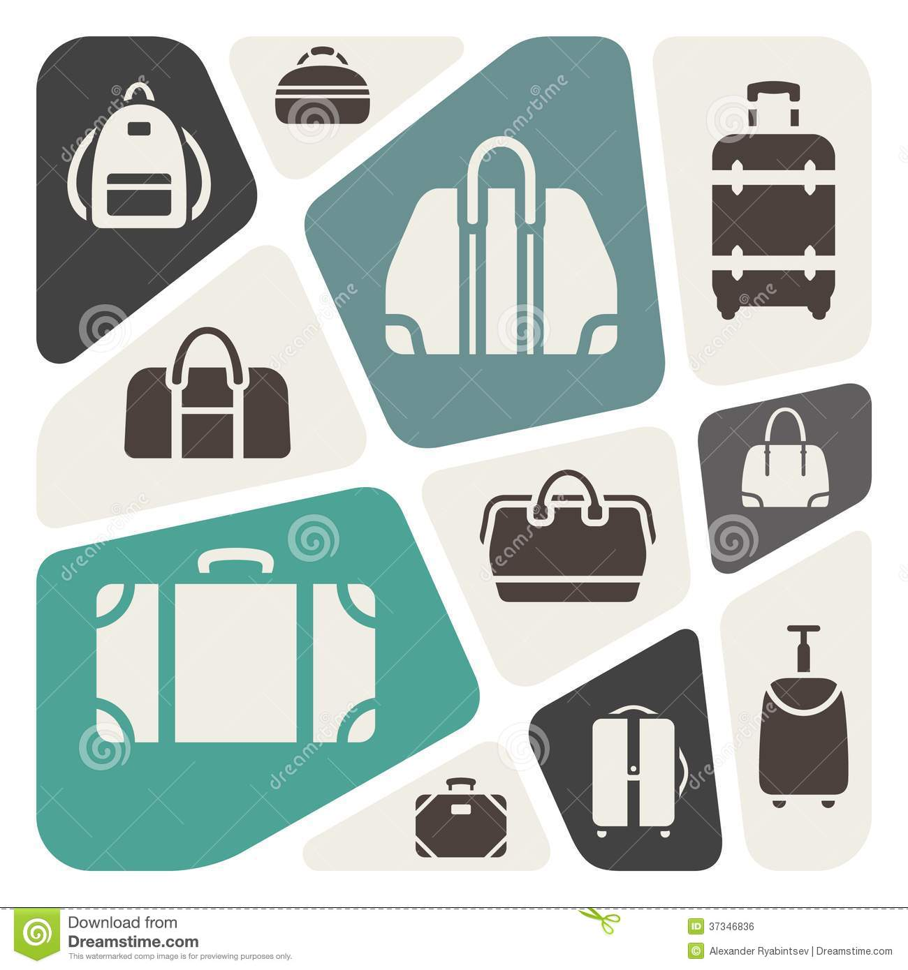 Suitcases icons background illustration