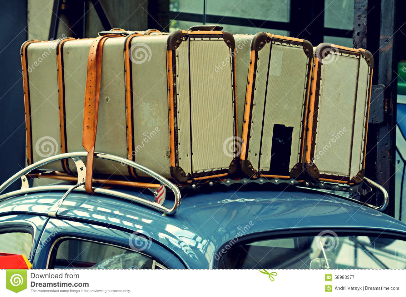 suitcases on a luggage carrier on the roof of the old car vinta stock photo image 58983377. Black Bedroom Furniture Sets. Home Design Ideas