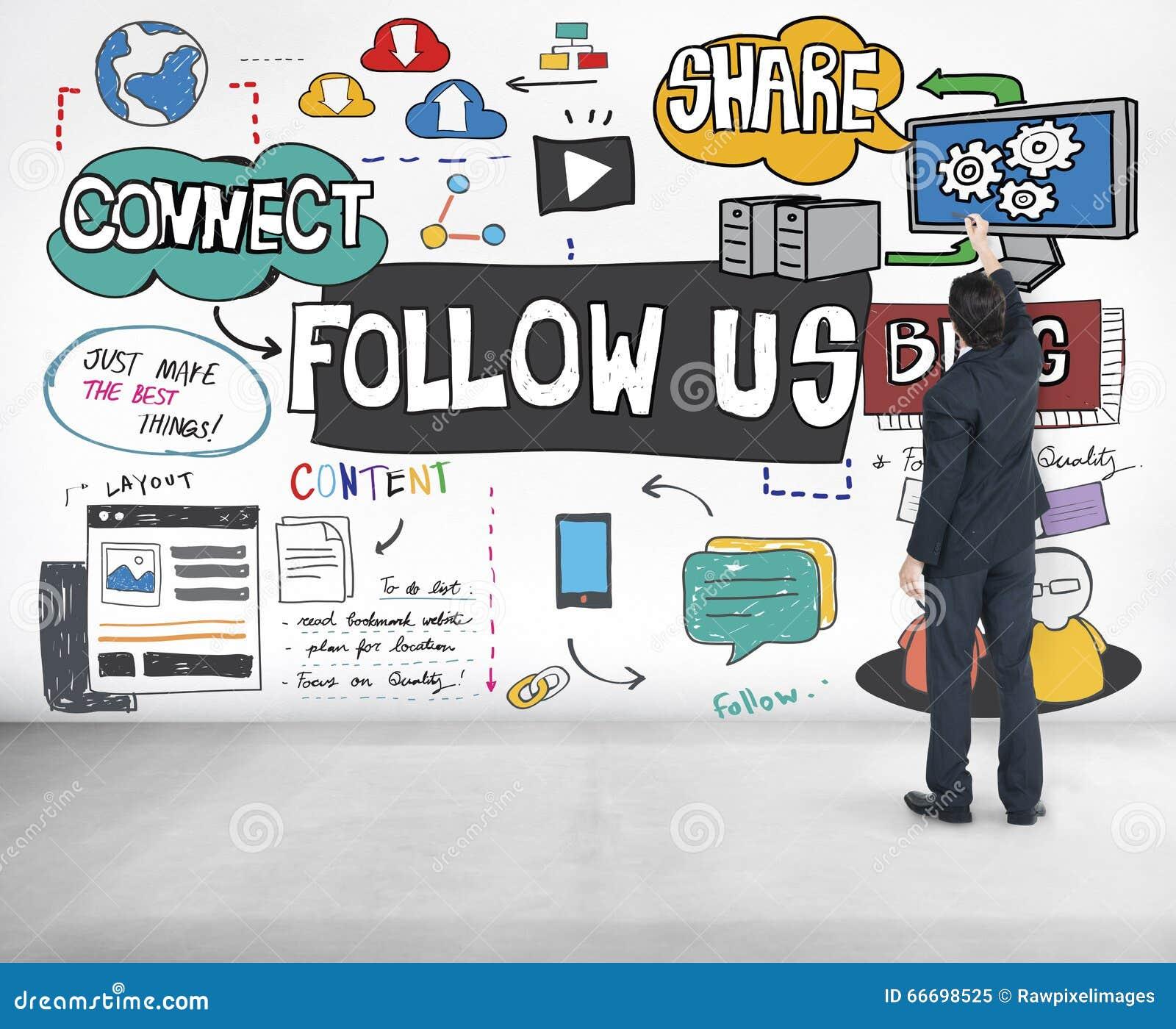 Suivez-nous concept en ligne de blog social de media