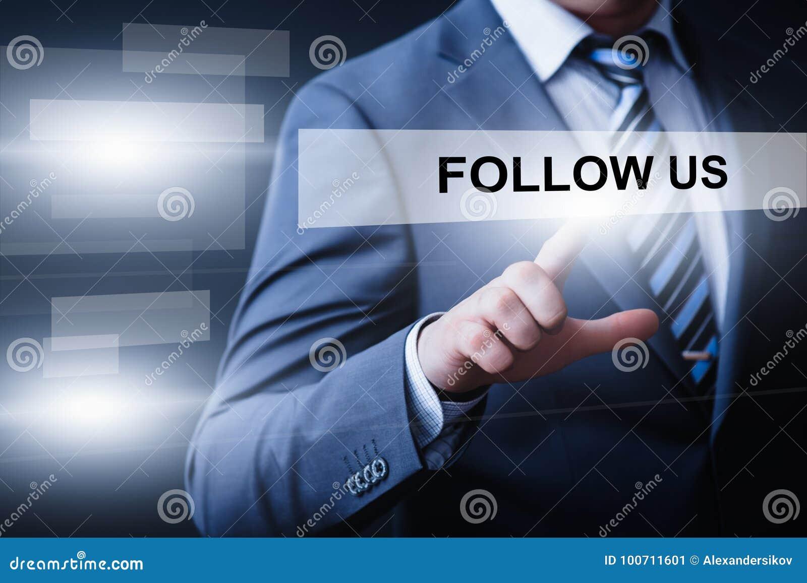 Suivez-nous concept social d Internet d affaires de marketing en ligne de disciples de media
