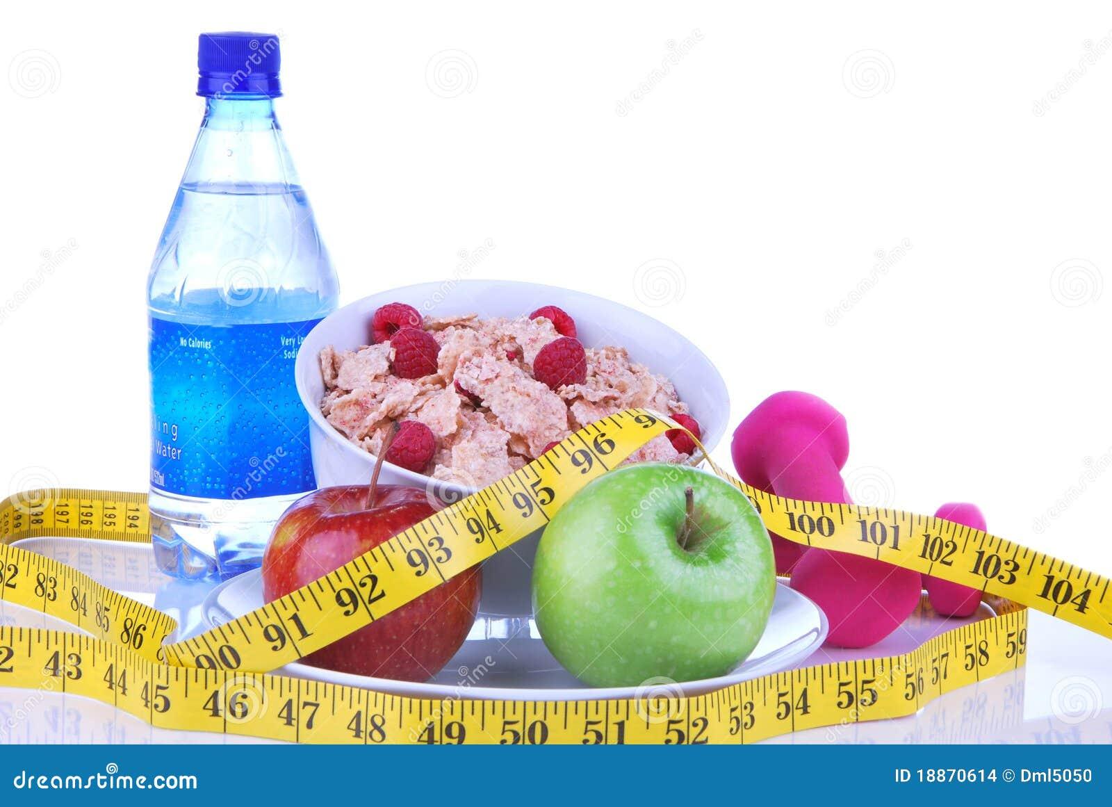 Suivez un régime la perte de poids, séance d entraînement, mesurez la nourriture saine