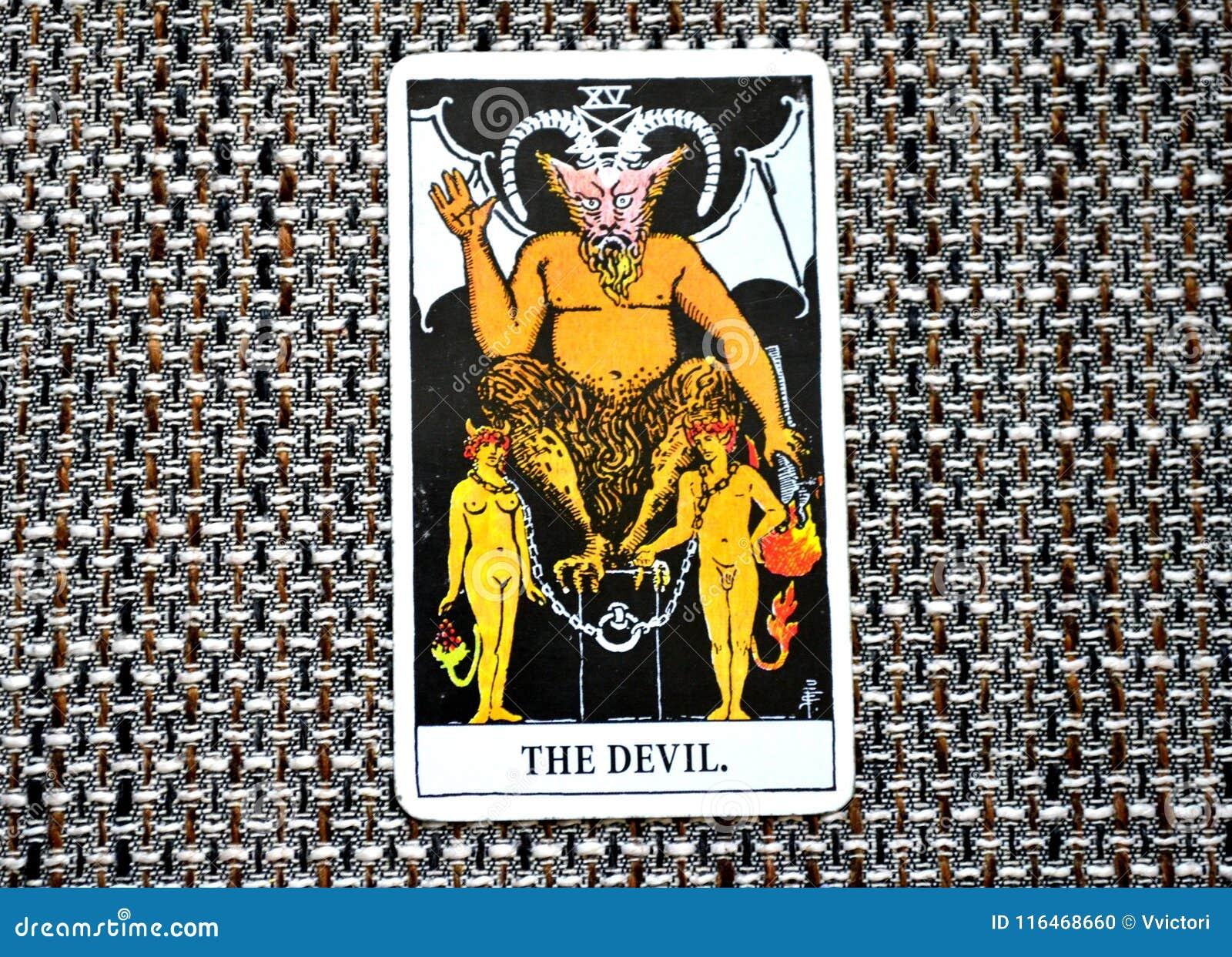A sujeição do cartão de tarô do diabo, tentação, escravização, materialismo, apegos