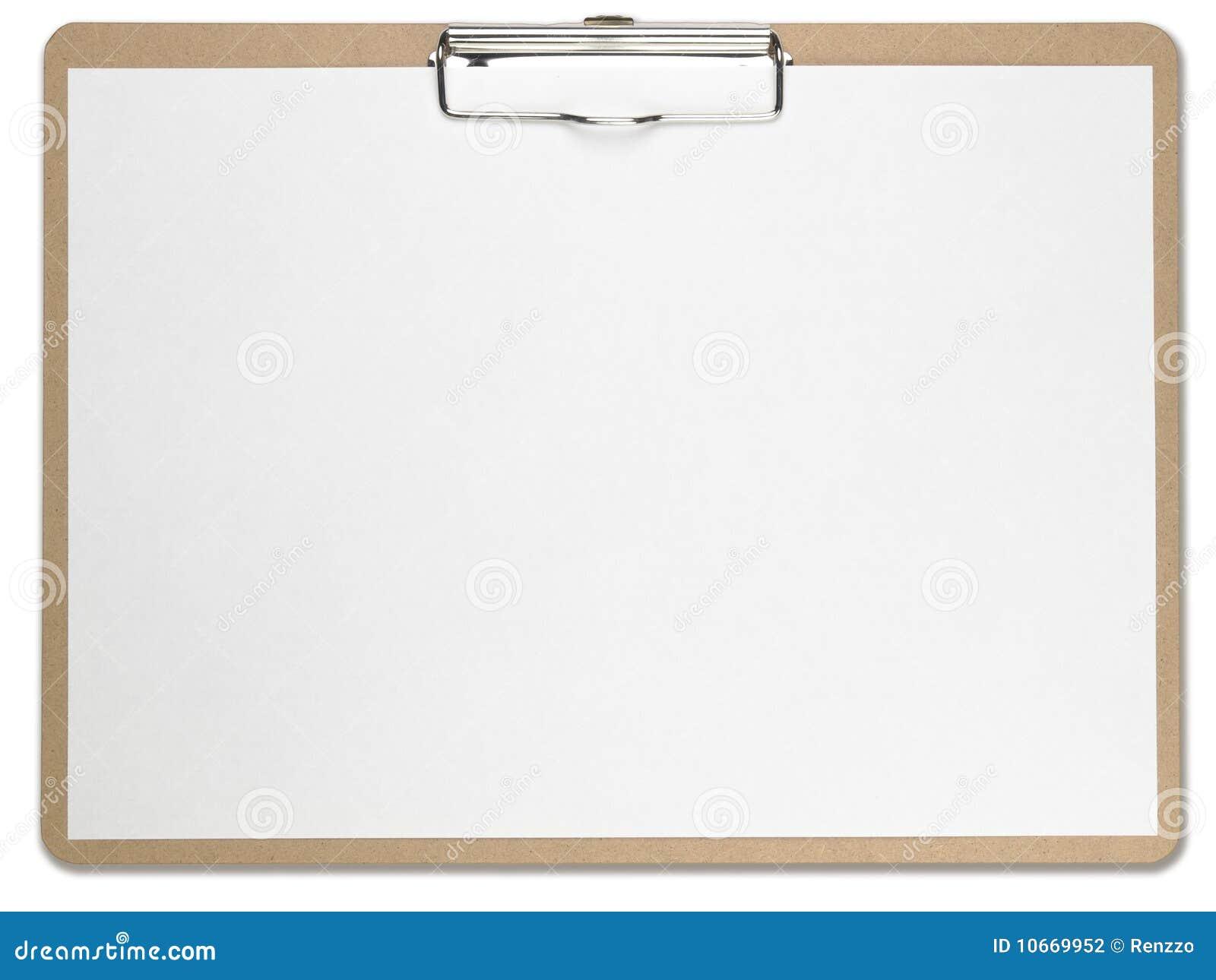 Sujetapapeles horizontal con el Libro Blanco en blanco.