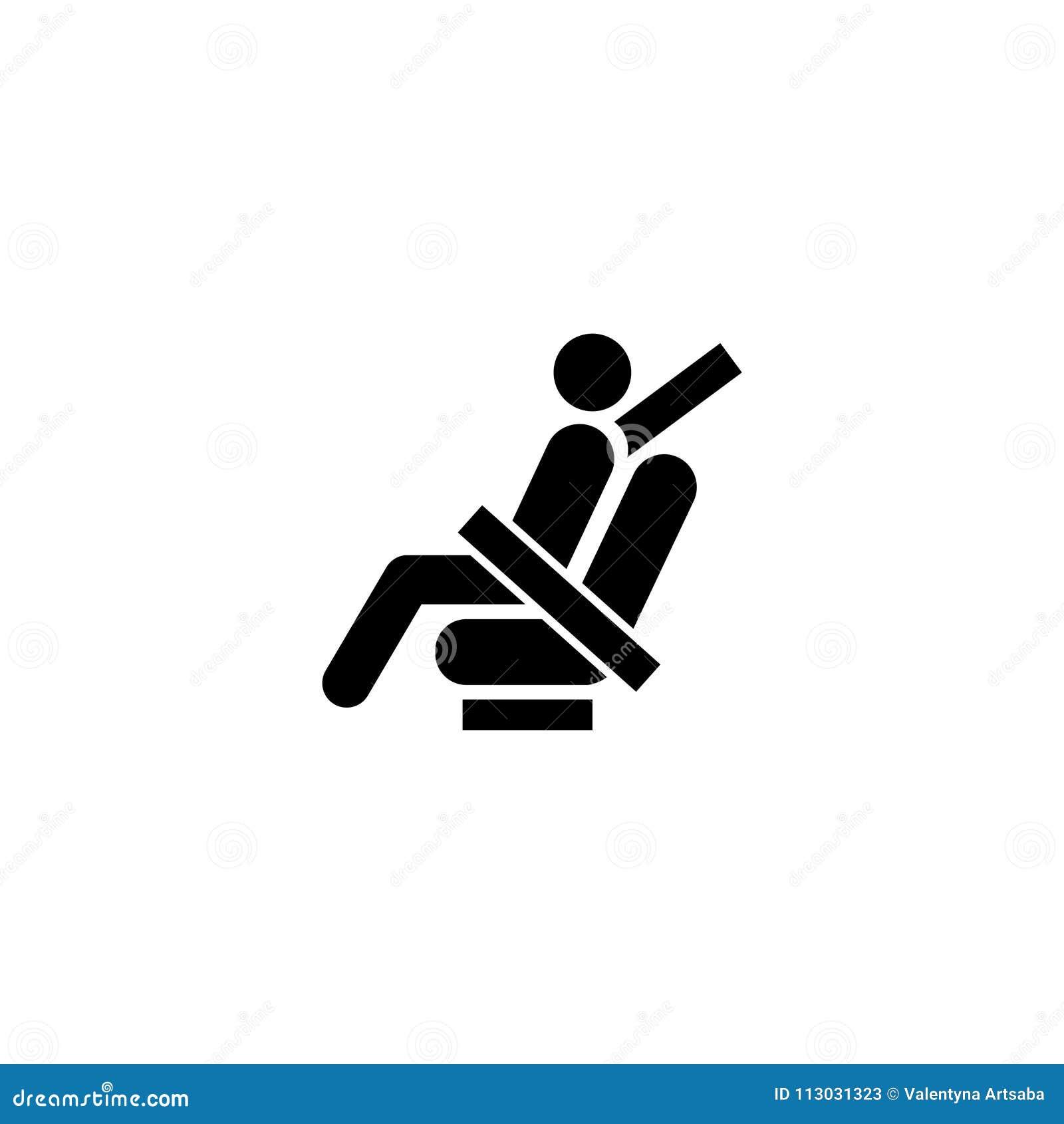 Sujete el icono plano del vector del cinturón de seguridad