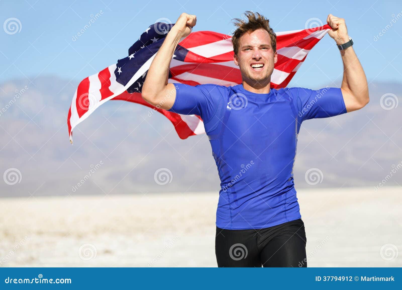 Sukces - wygrywać biegacza doping z usa flaga