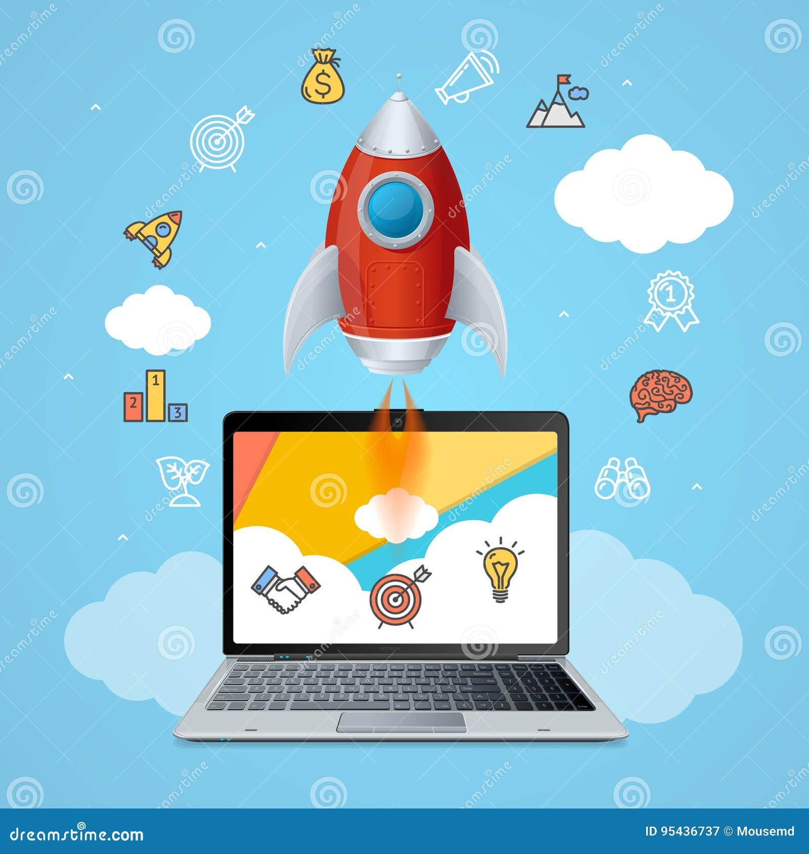 Sukces Zaczyna Up pojęcie Astronautycznego statku rakietę i gadżetu przyrząd wektor