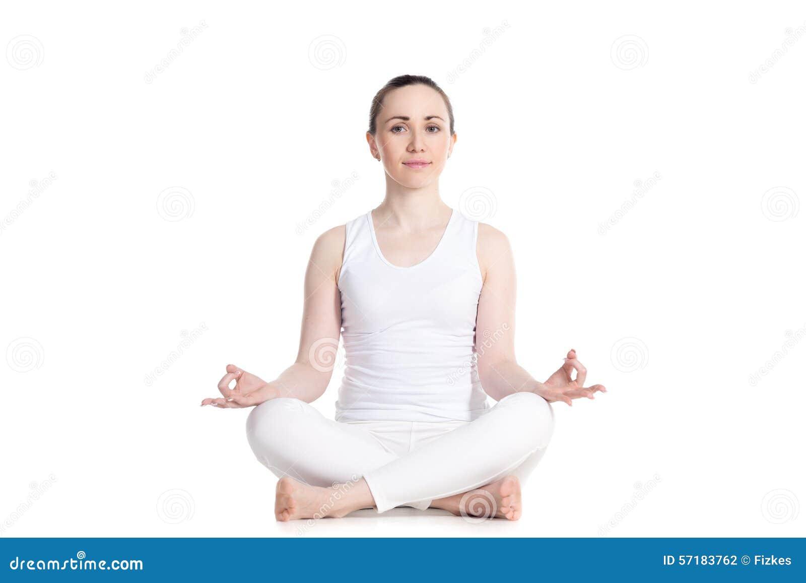 Sukhasana yoga pose stock photo. Image of gesture ...