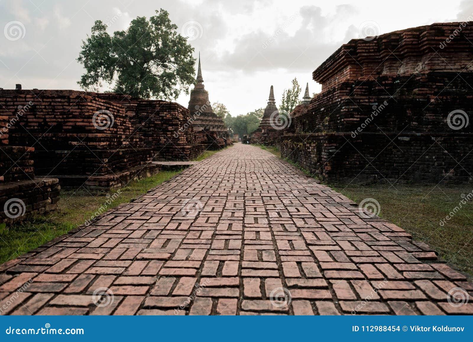 Sukhotha, Thailand - November 20, 2017: Wat Mahathat Temple in the precinct of Sukhothai Historical Park