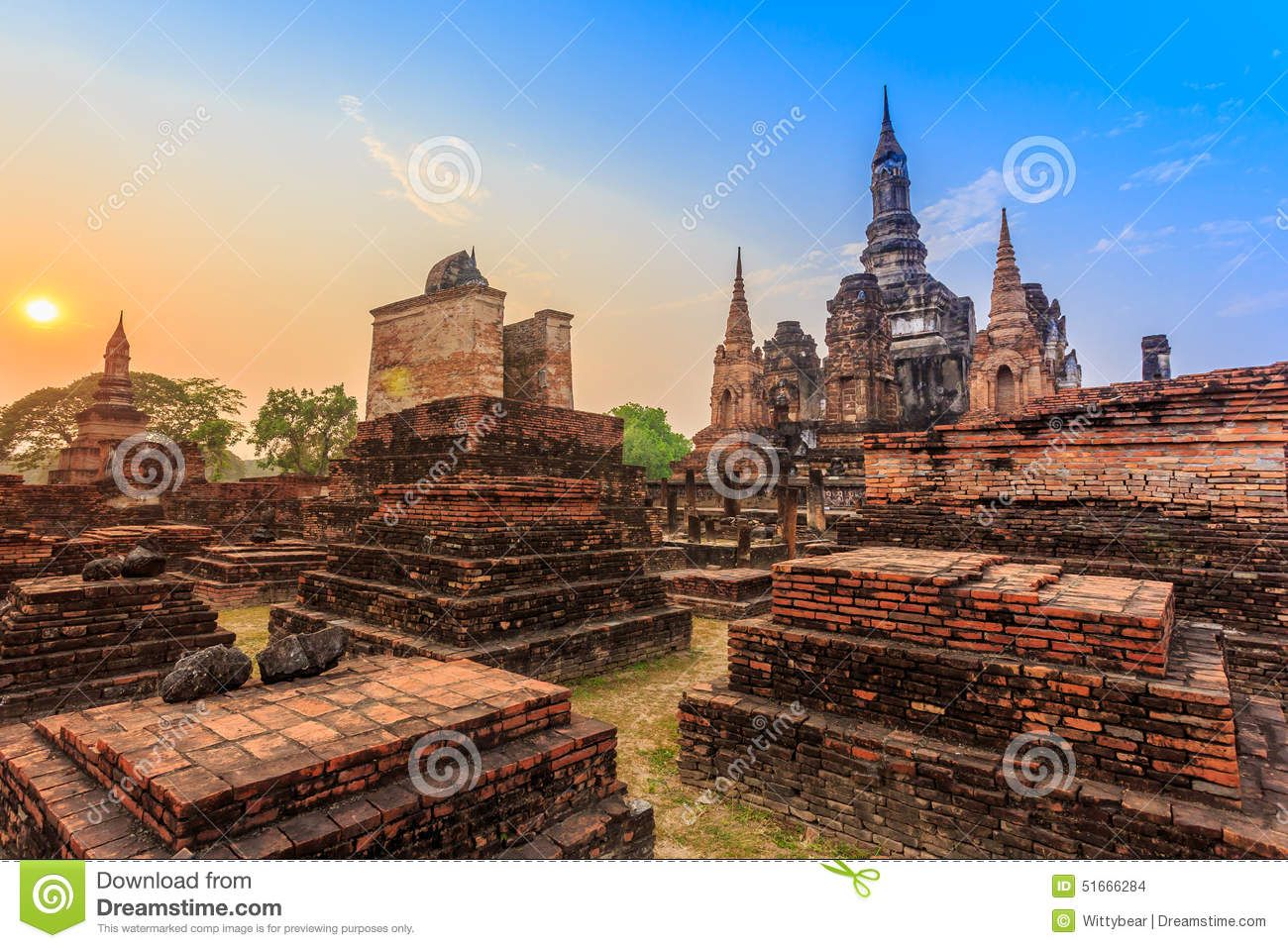 Sukhothai Historical Park The Old Town Of Thailand Stock ...
