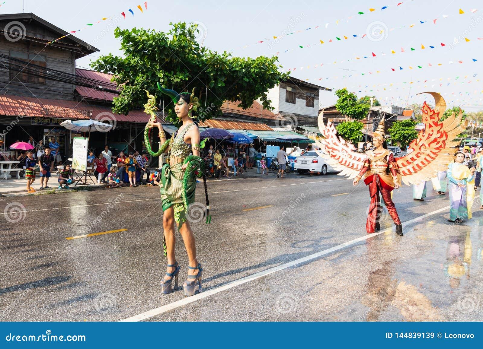 Sukhothai, Thailand - 14 April 2019: Thai People Celebrating