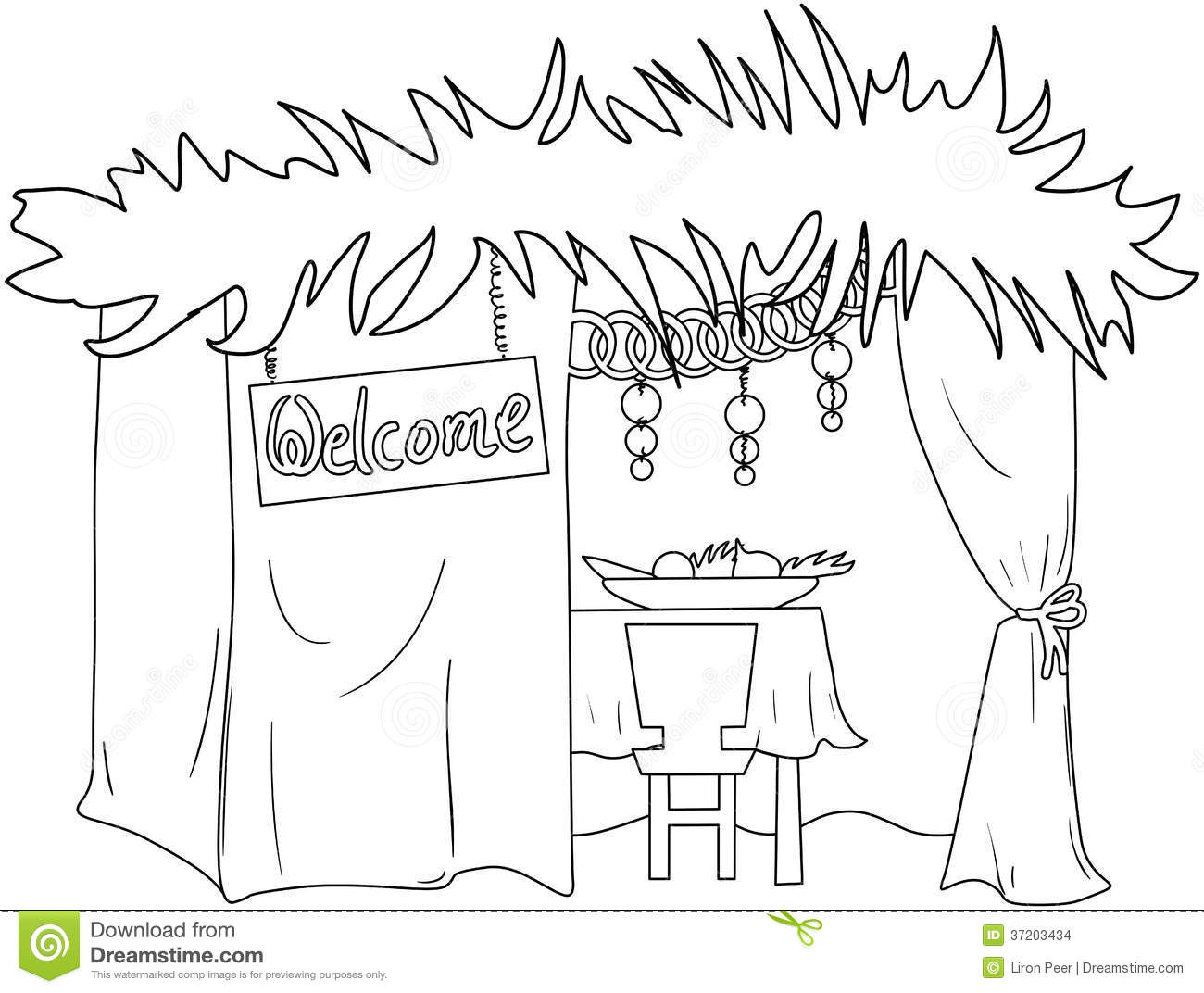 Sukkah For Sukkot Coloring Page Stock Vector Image 37203434