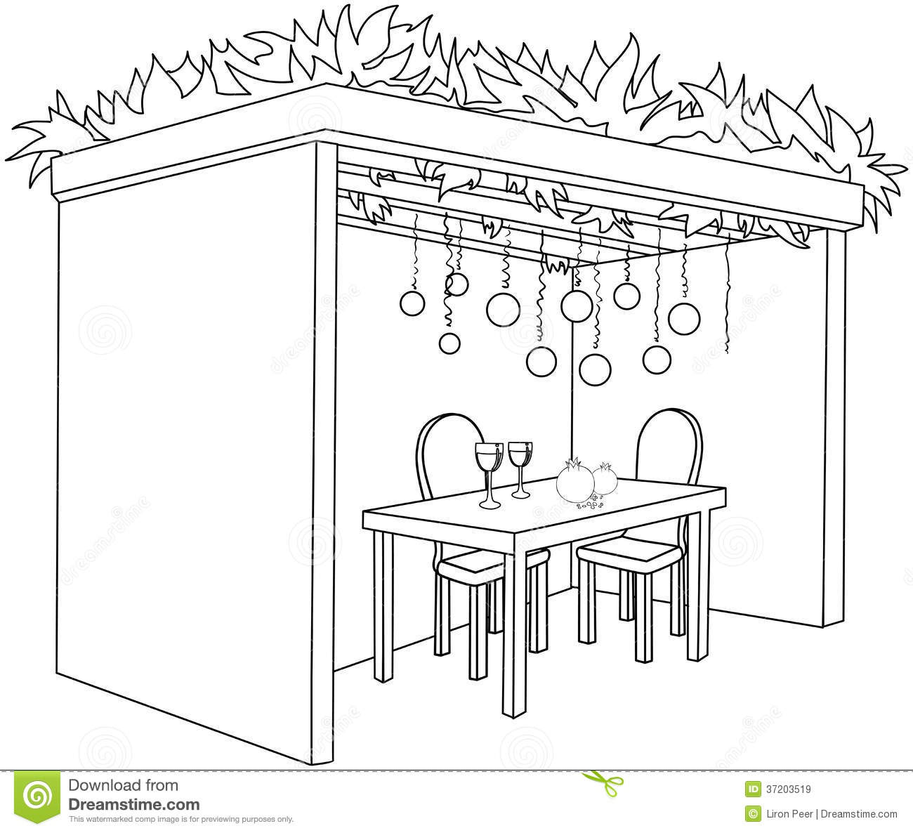 Sukkah For Sukkot With Table Coloring Page Stock Vector ...