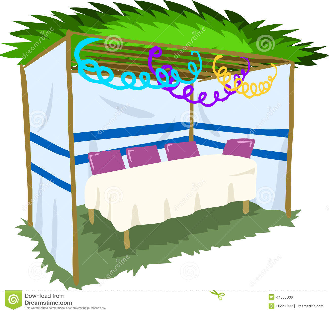 Sukkah For Sukkot With Table 2 Stock Vector Image 44063036