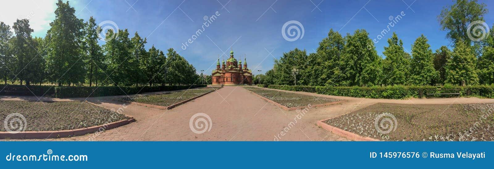 Sul Ural Chelyabinsk da igreja do russo, panorama