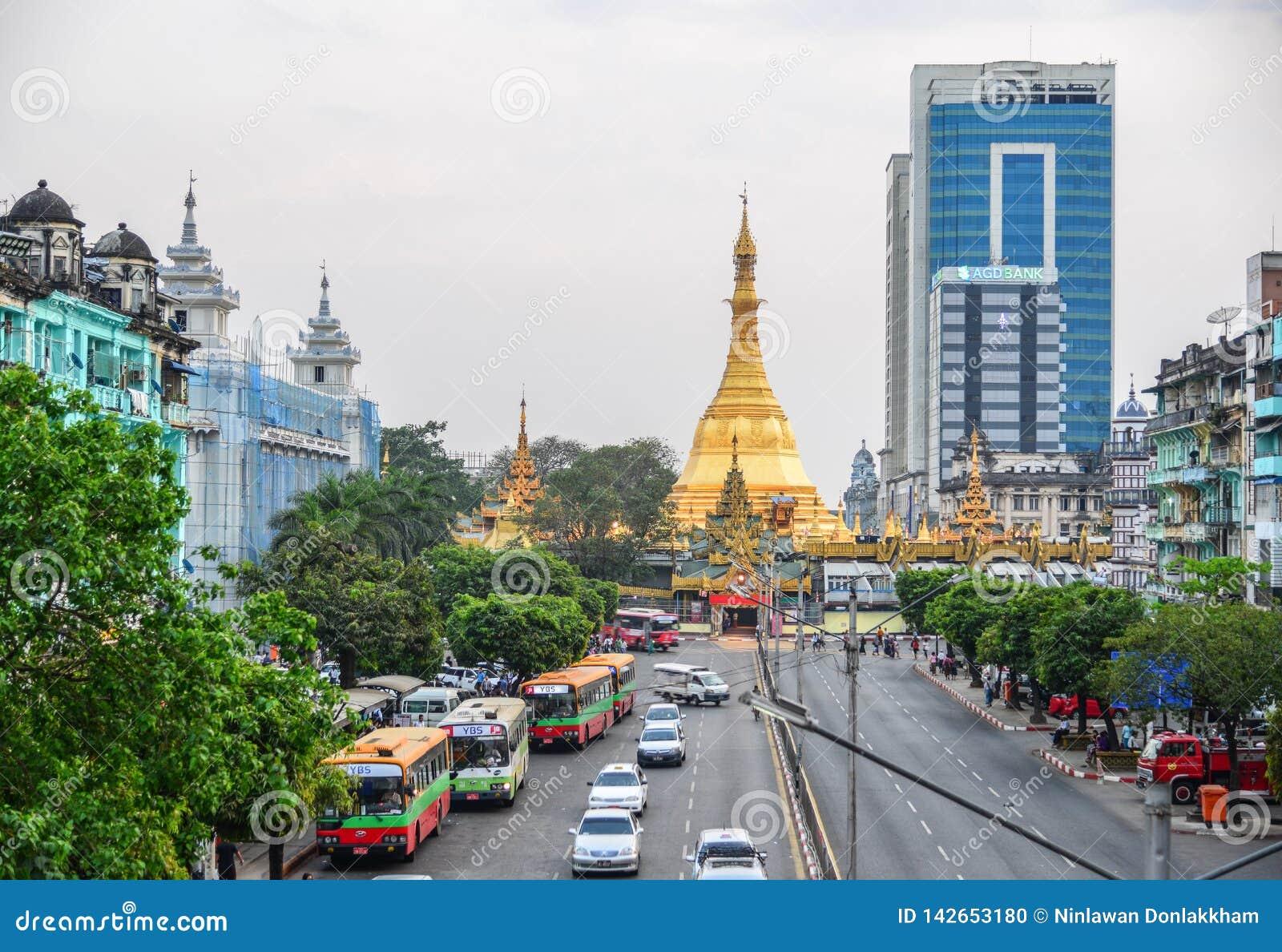 Sule pagoda i Yangon, Myanmar