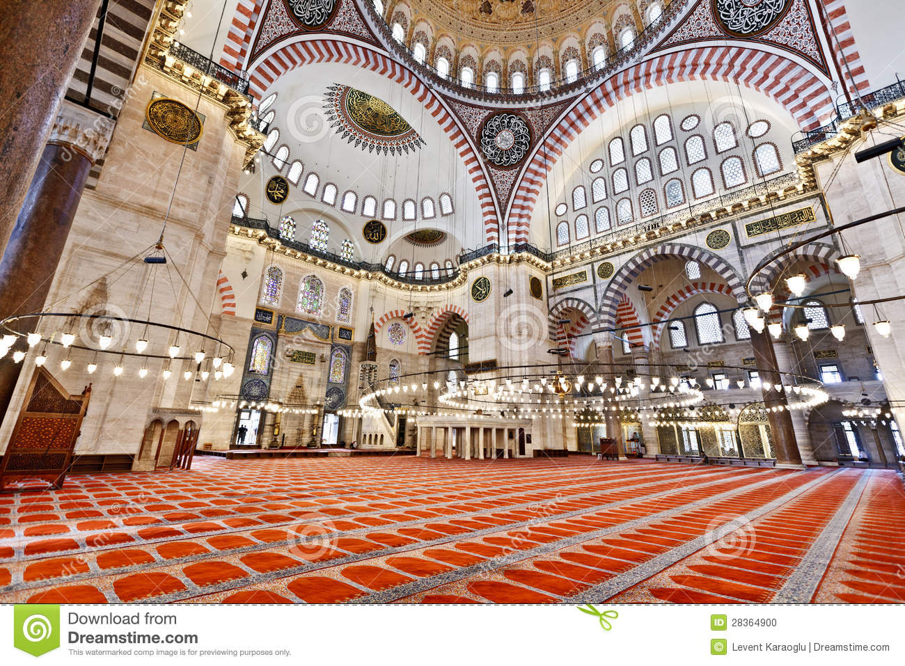 Suleymaniye Mosque In Istanbul Turkey Interior Stock